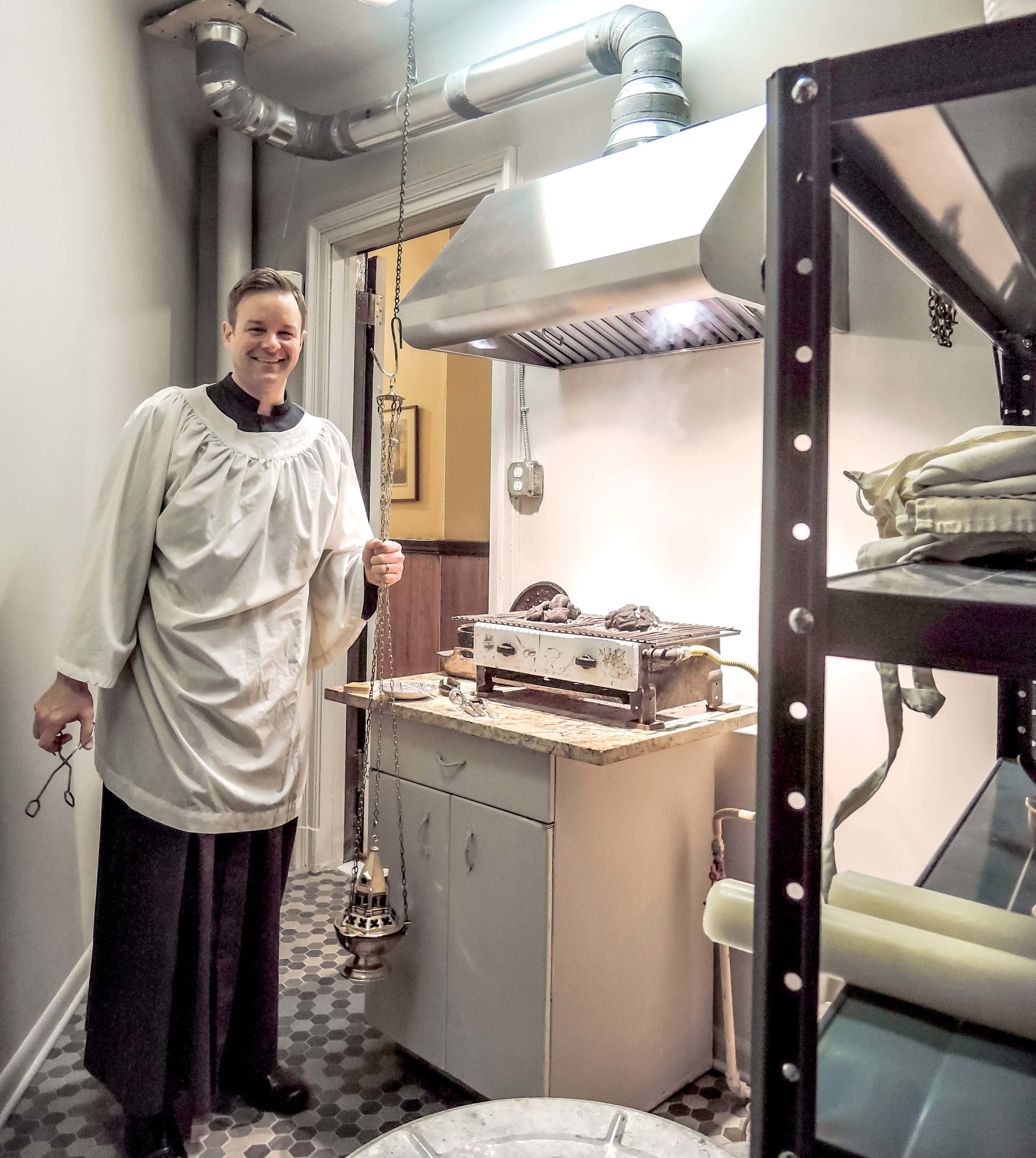 Clark Mitchell, thurifer, in the newly renovated Smoke Room