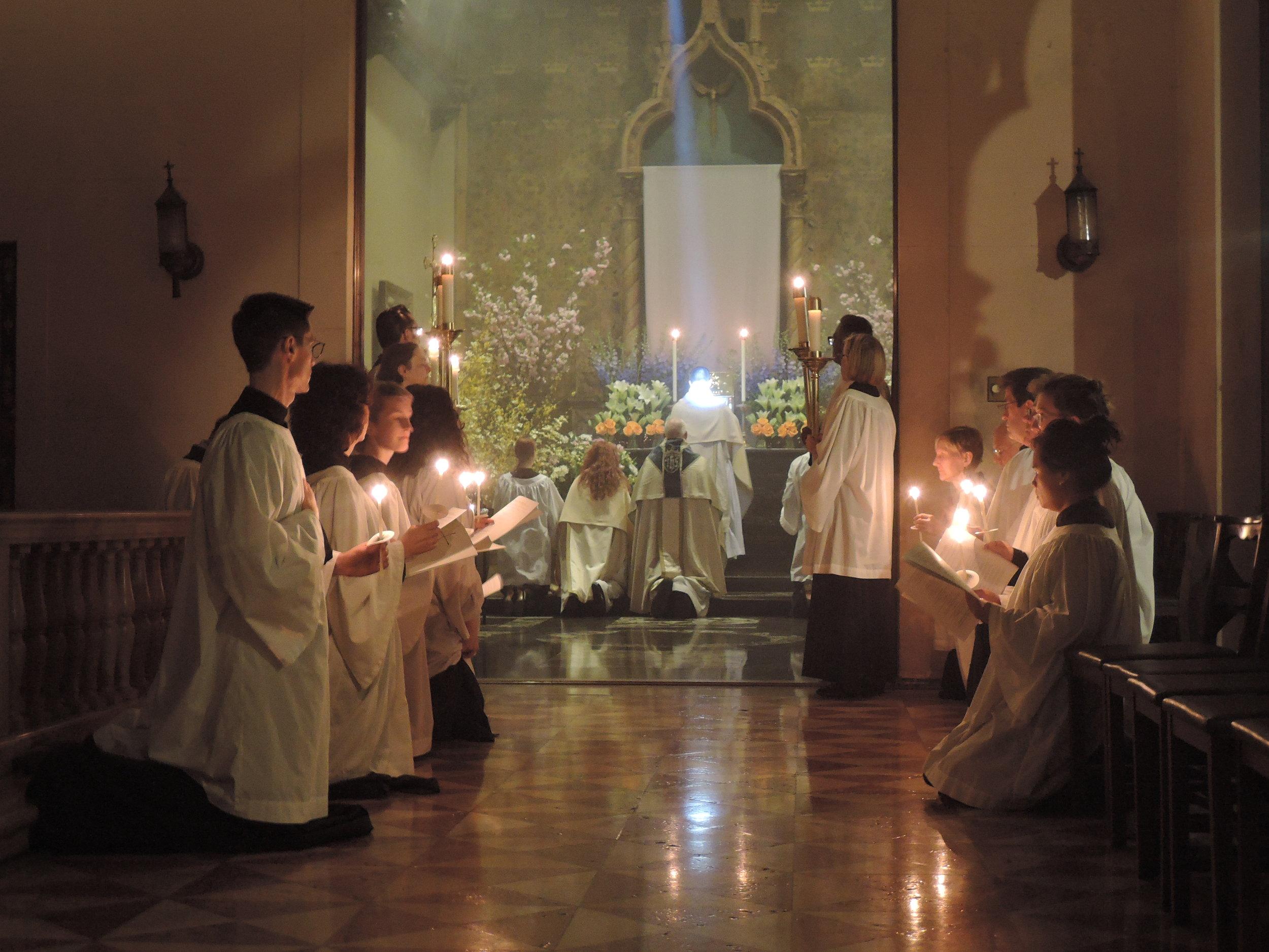 The Saint Mary's Choir at the Altar of Repose on Maundy Thursday