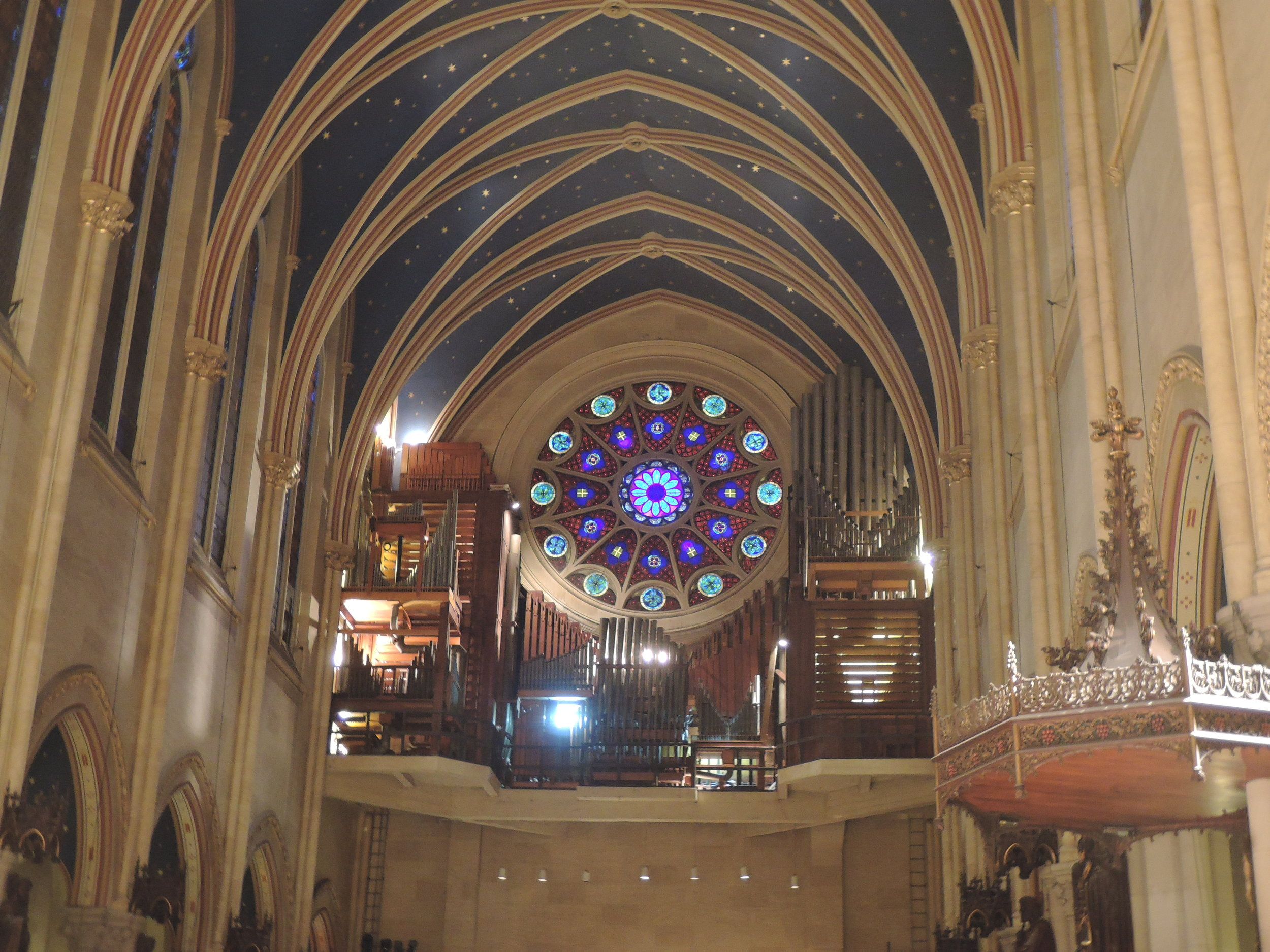 The Rose Window and the organ loft at Saint Mary's