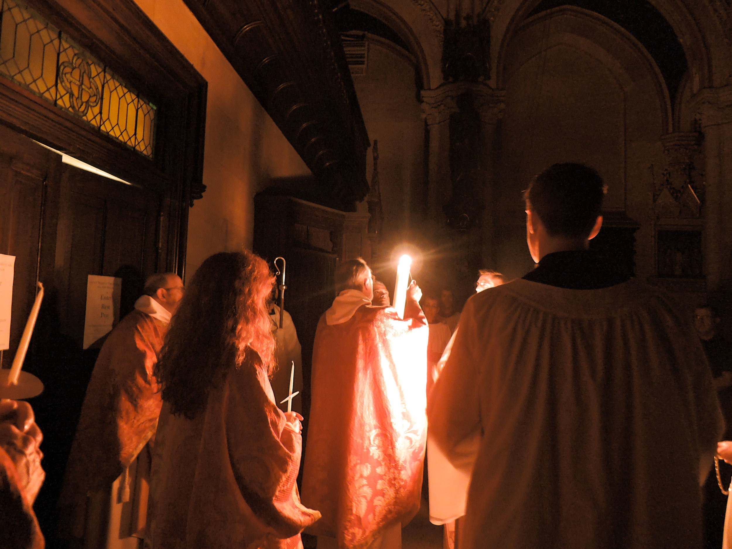 Bishop Sisk lights the Paschal Candle