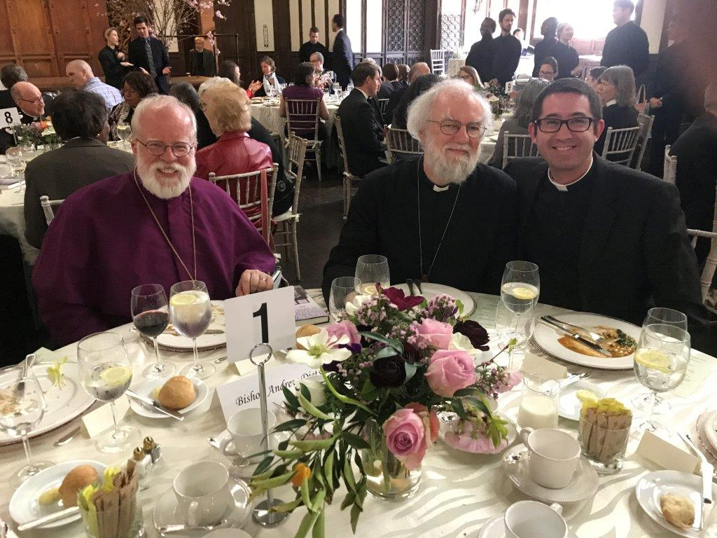 At lunch following the Chrism Mass at the cathedral on Tuesday in Holy Week, Bishop Dietsche, Bishop Rowan Williams, and Deacon Matt Jacobson