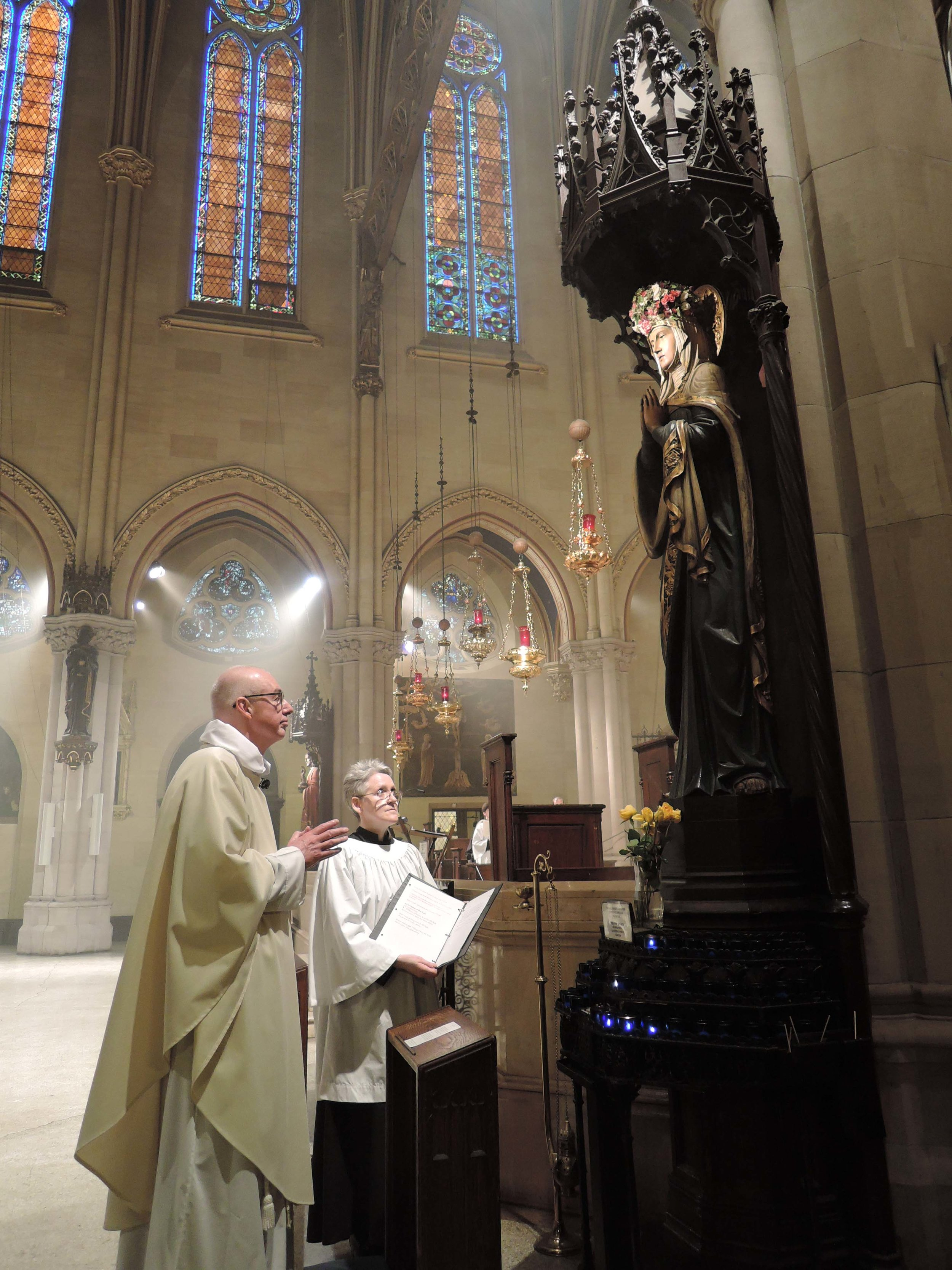The Rector led the prayers at the Shrine of Our Lady.