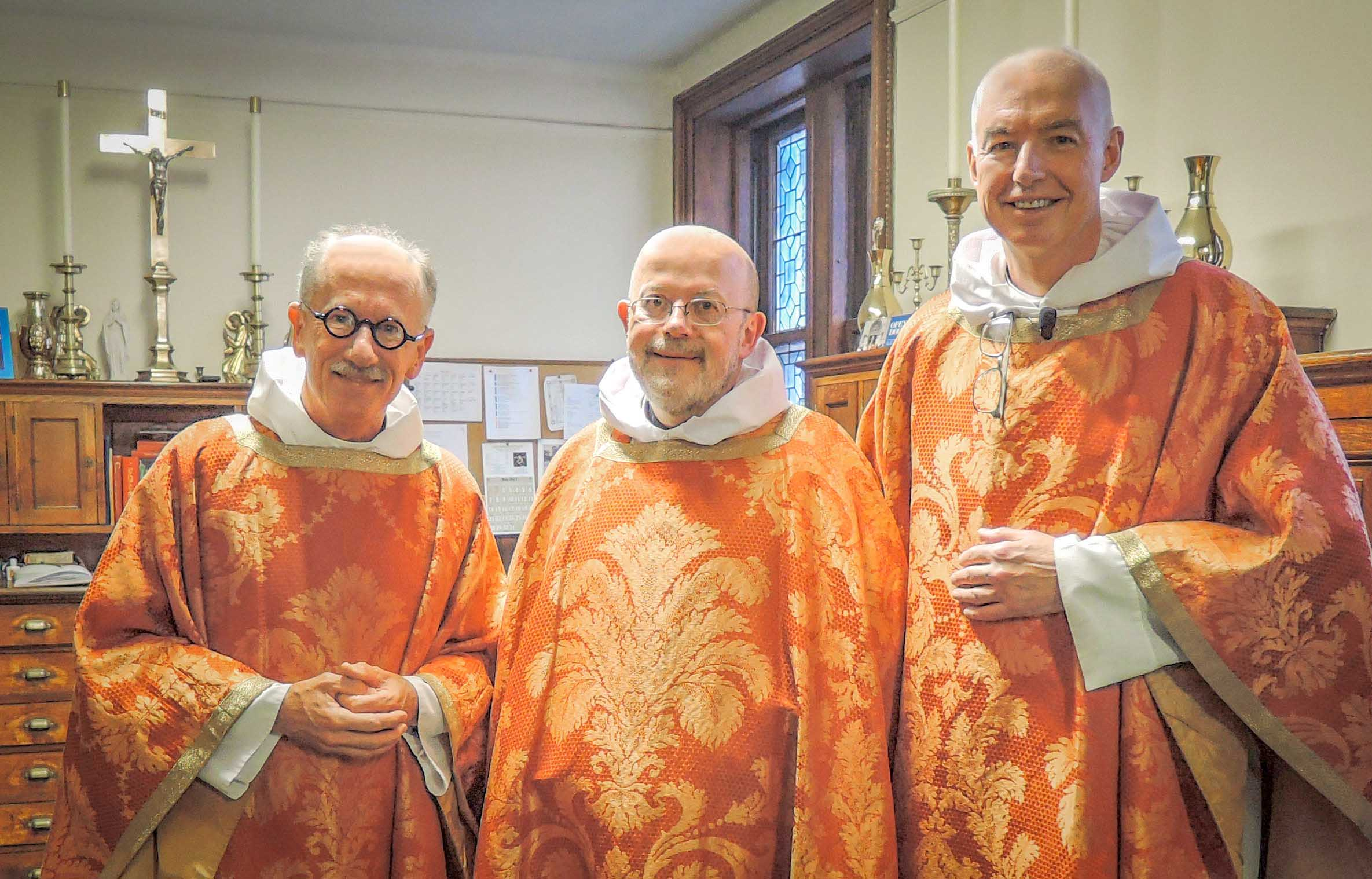 (L. to R.) Father Michael Basden, Father Jay Smith, and Father Stephen Gerth in the Sacristy before Solemn Mass on Ascension Day