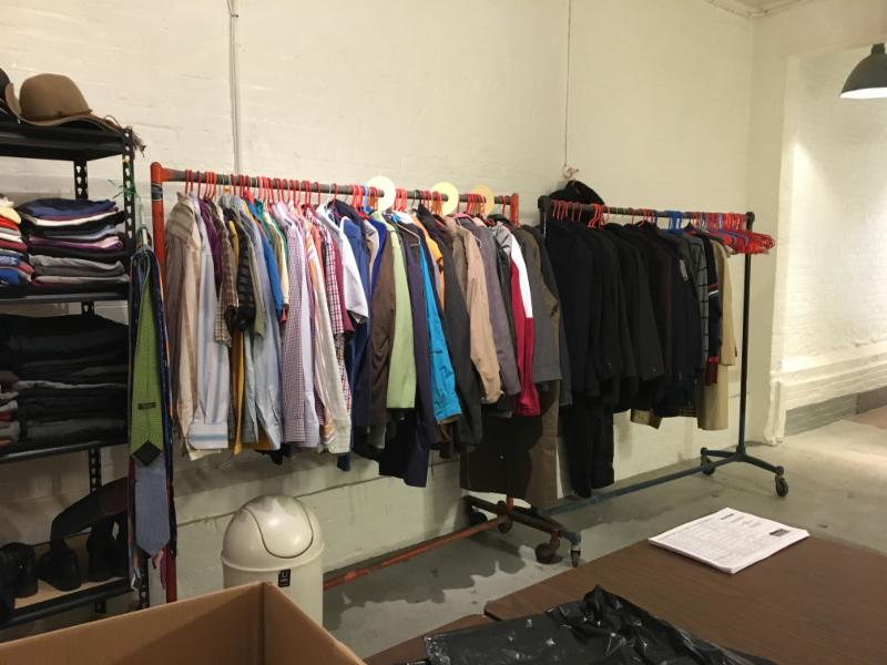 Donated clothing in the clothes closet in the Mission House