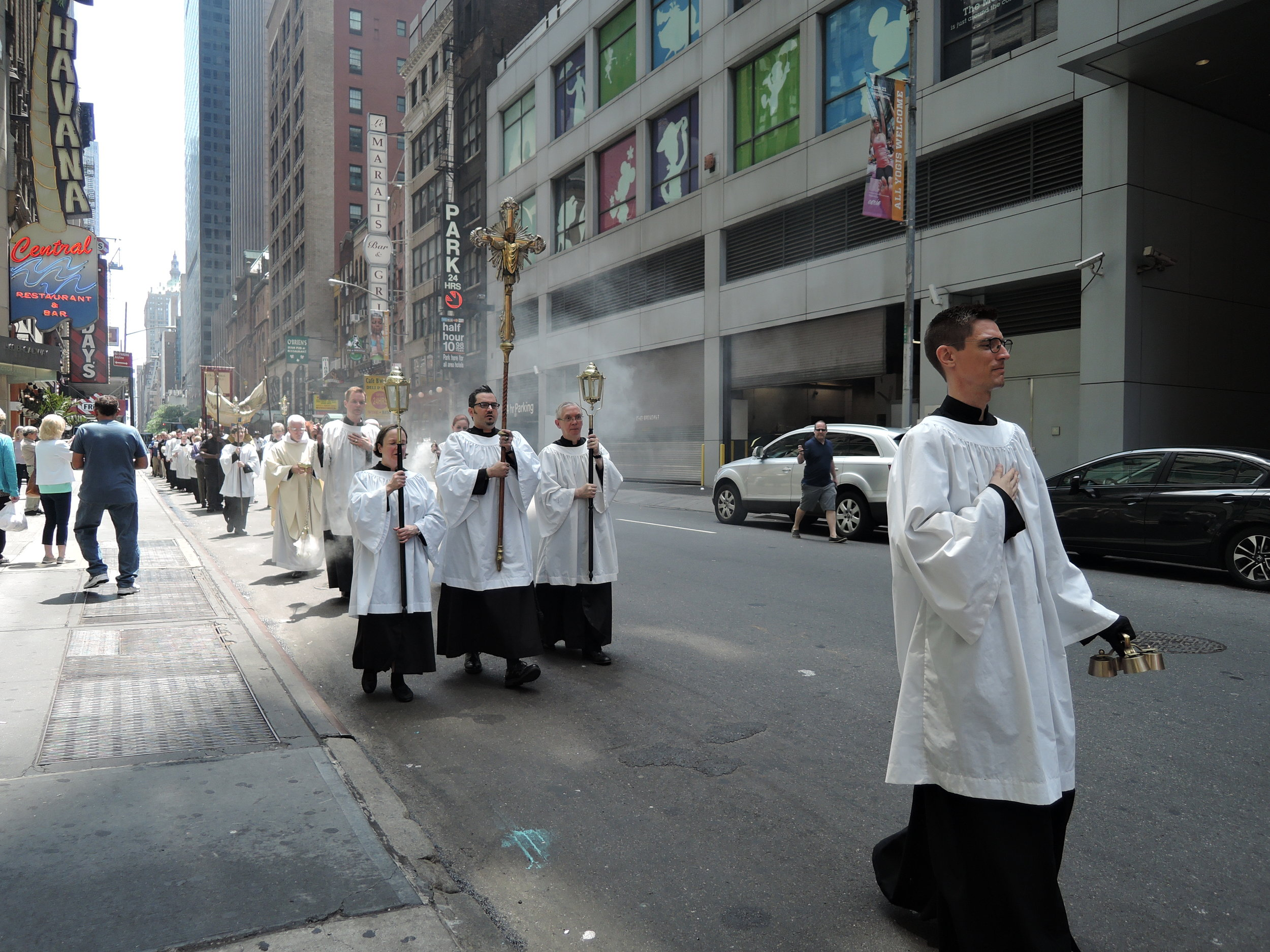 The Procession from the church to Times Square.