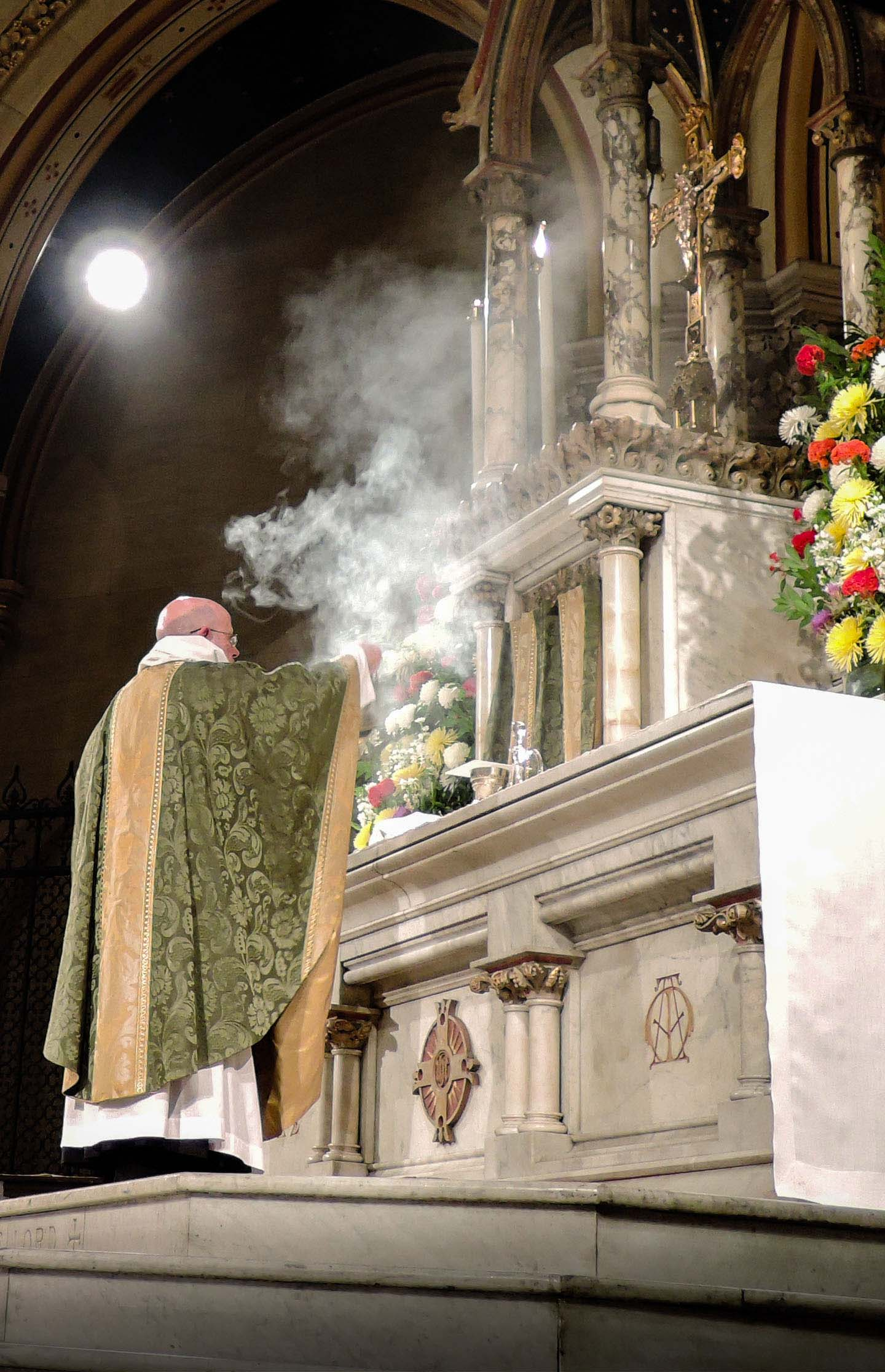 At the preparation, the gifts are censed first, then the altar cross, and then the altar by the celebrant.