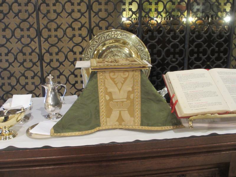 Credence table prepared for Solemn Mass