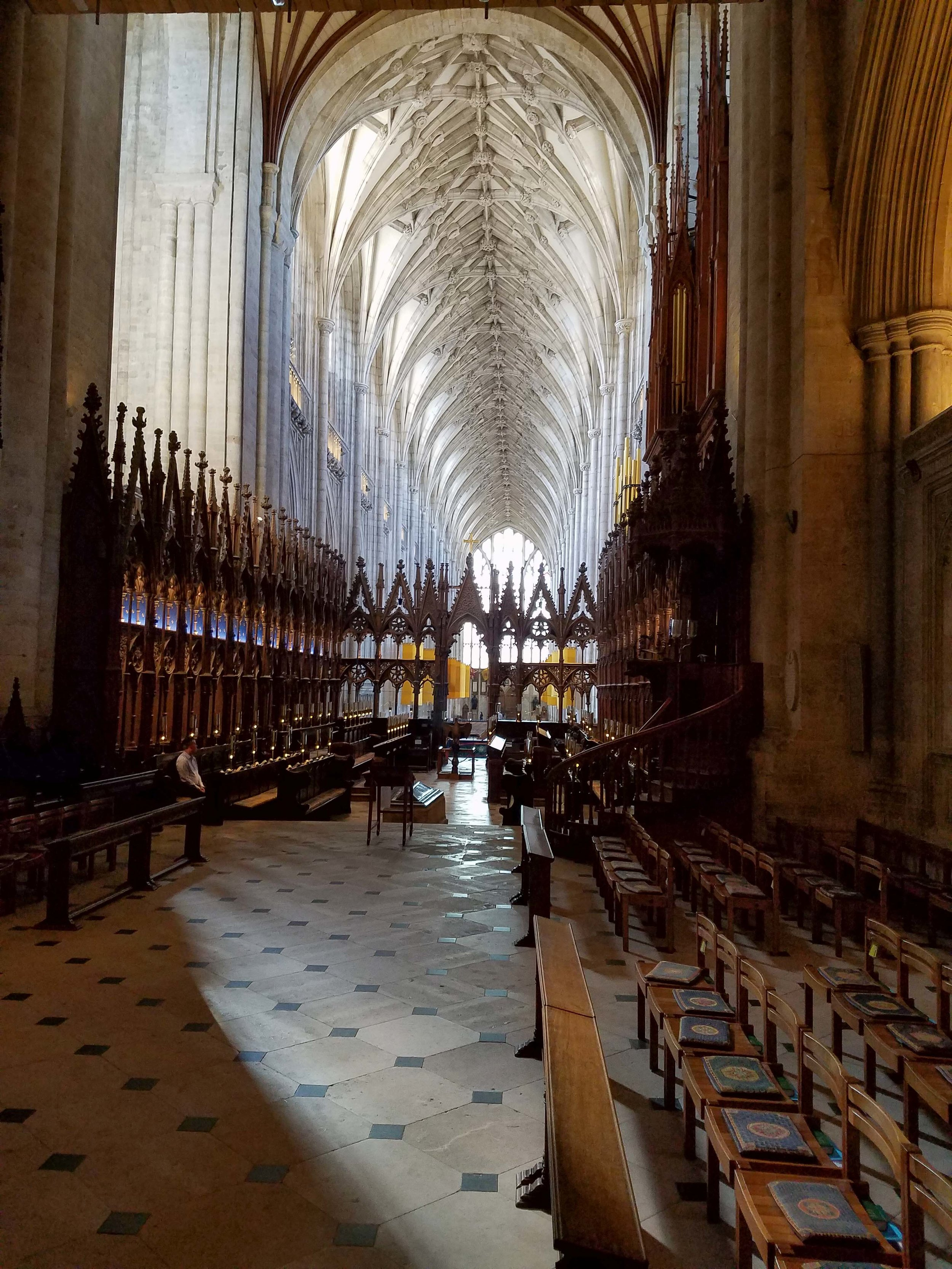 Looking down the nave at Winchester Cathedral