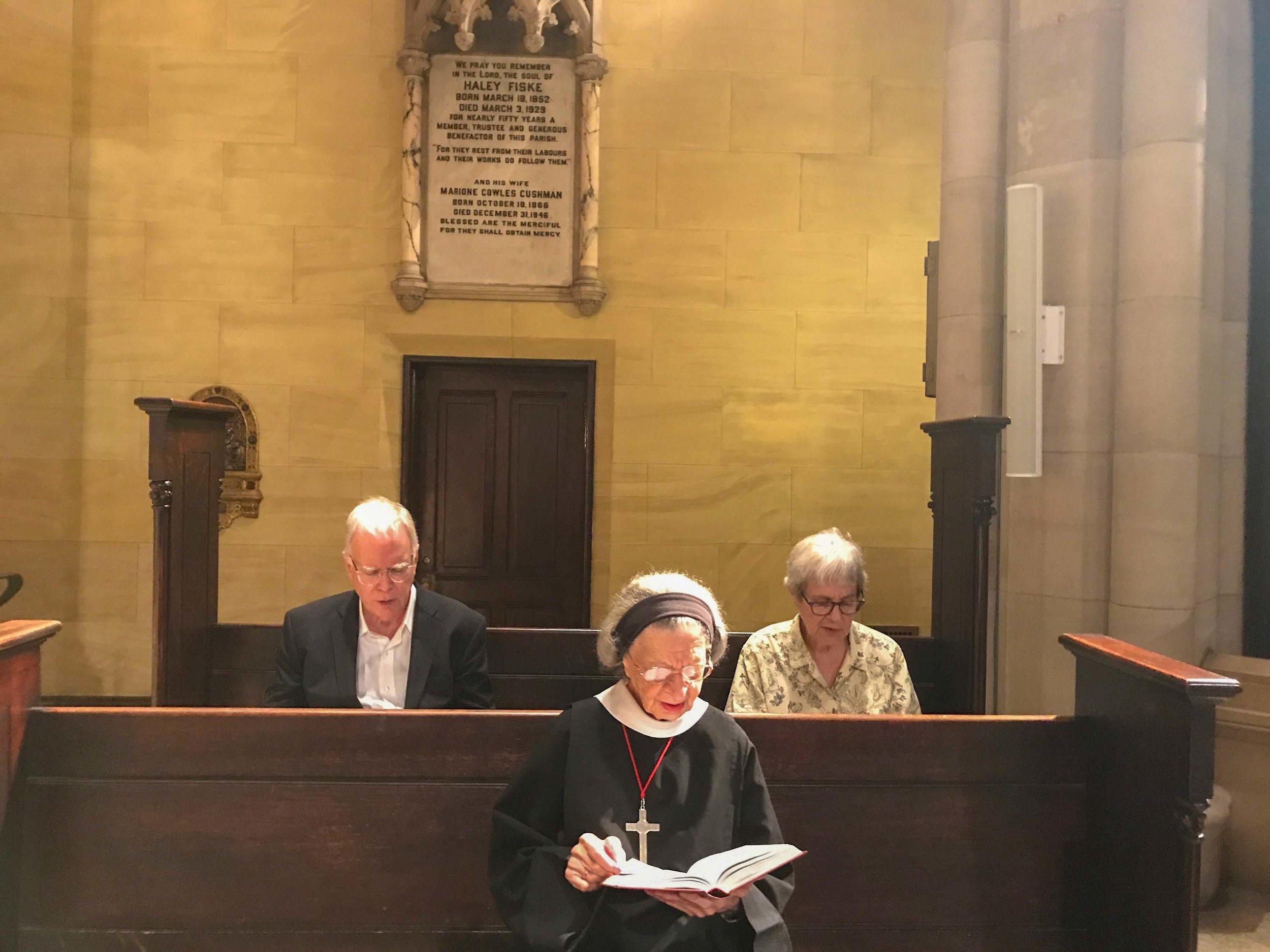 Colin Sanderson, Sister Laura Katharine, and Gypsy da Silva at Morning Prayer