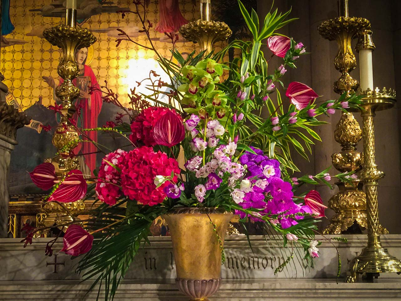 Flowers on the High Altar on the Feast of the Transfiguration, Sunday, August 6