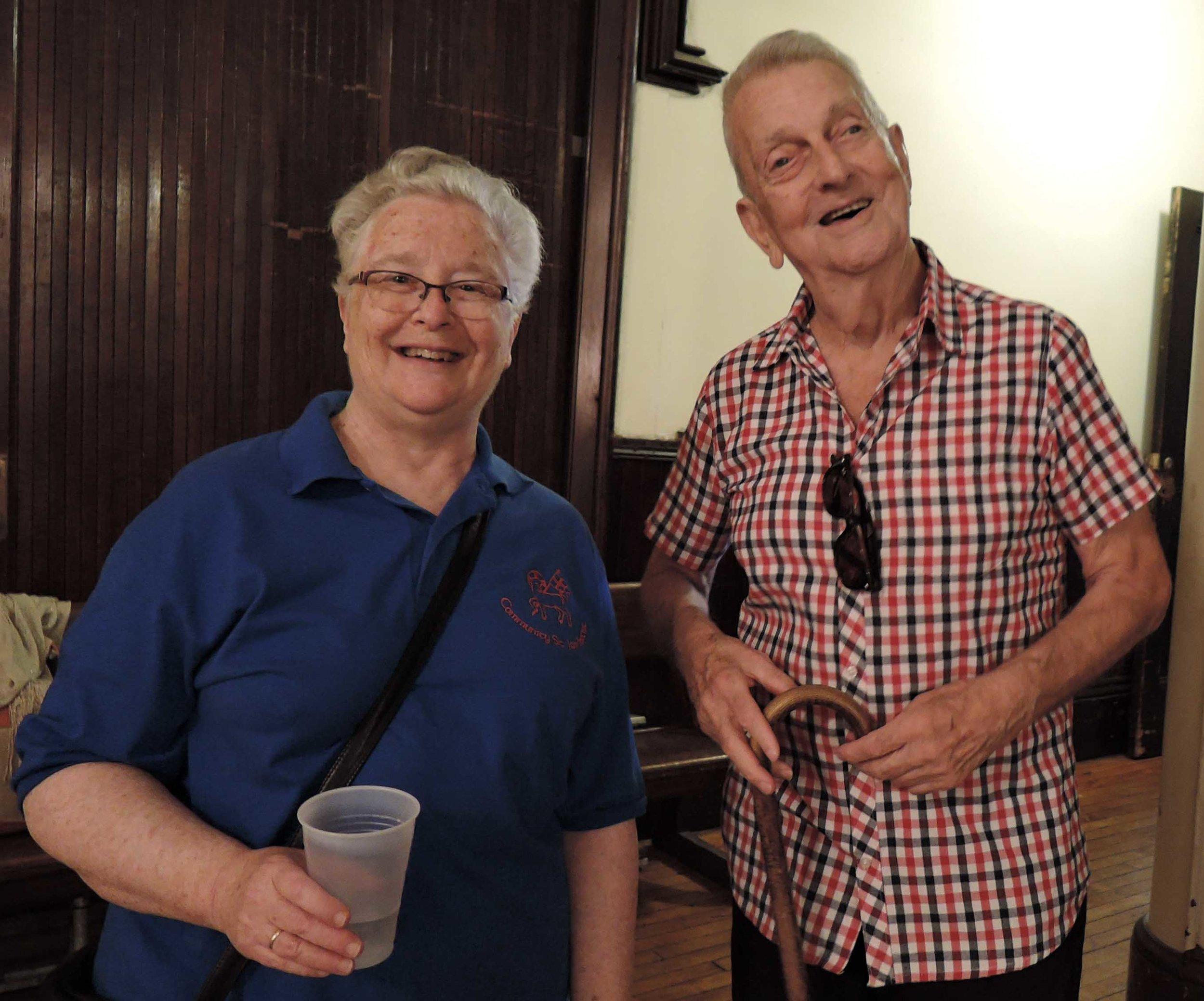 Sr. Deborah Francis, C.S.J.B. and Dick Leitsch after Mass.