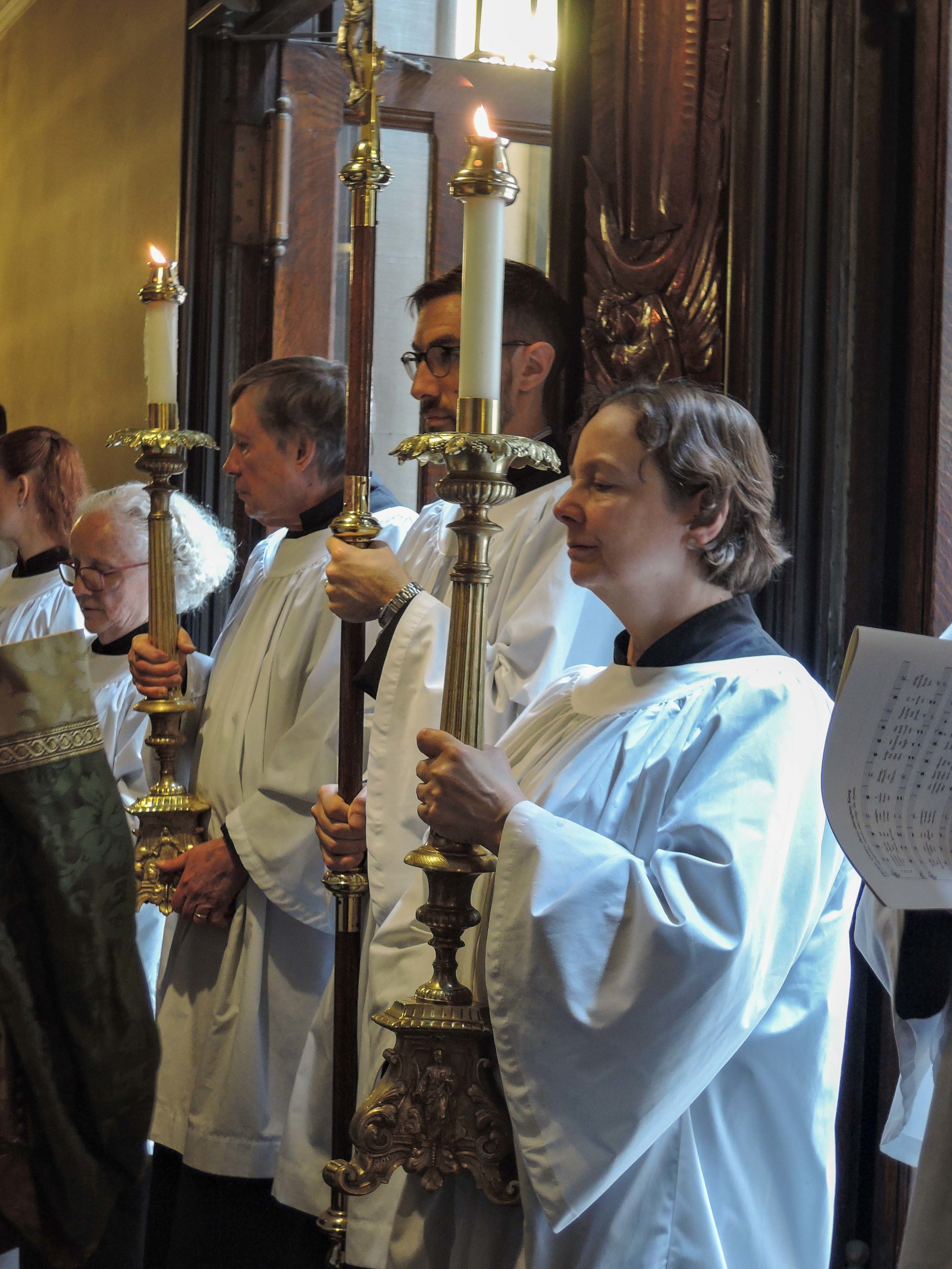 After announcements, the servers and clergy process to the narthex during the final hymn to await the dismissal.