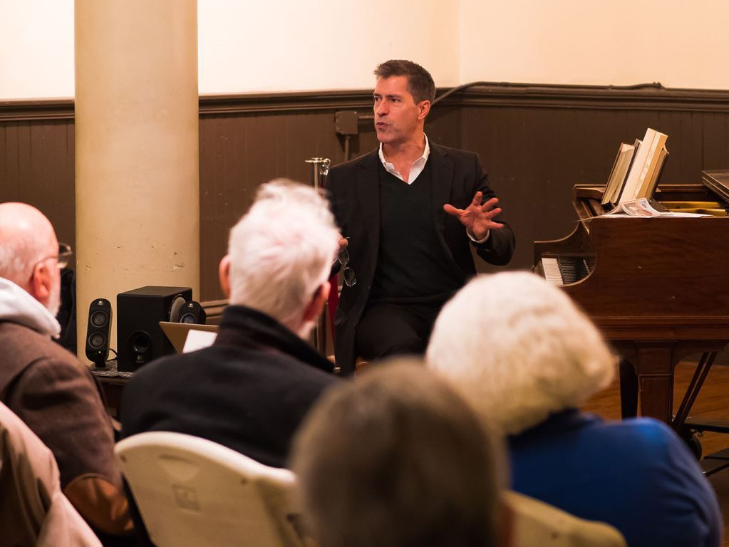 """Dr. Mark Risinger led the Adult Forum on Bach's """"Passion of St. Matthew"""" and """"Passion of St. John.""""  Photo by Ricardo Gomez"""