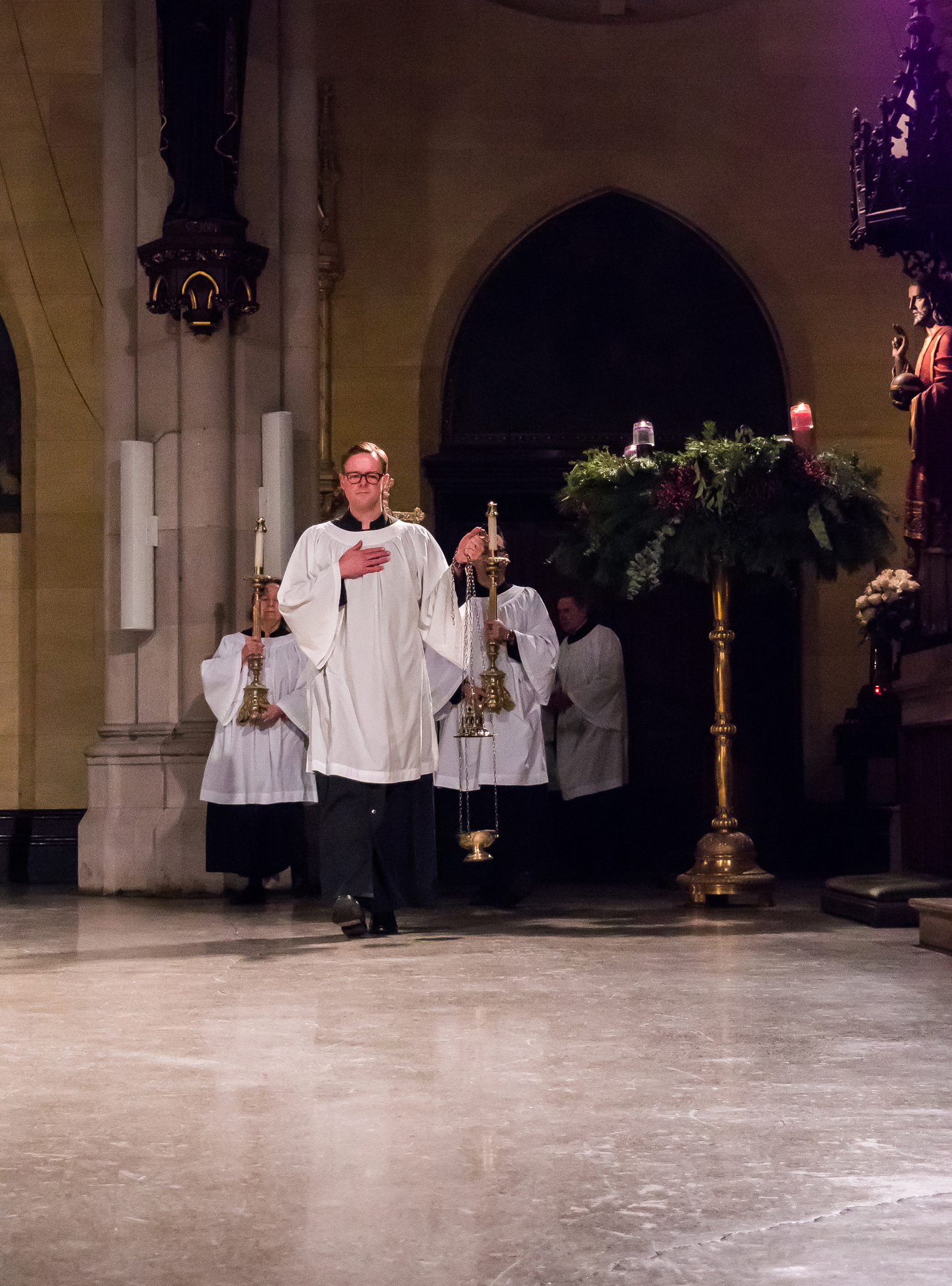 The Procession enters at Solemn Mass     Photo by Ricardo Gomez
