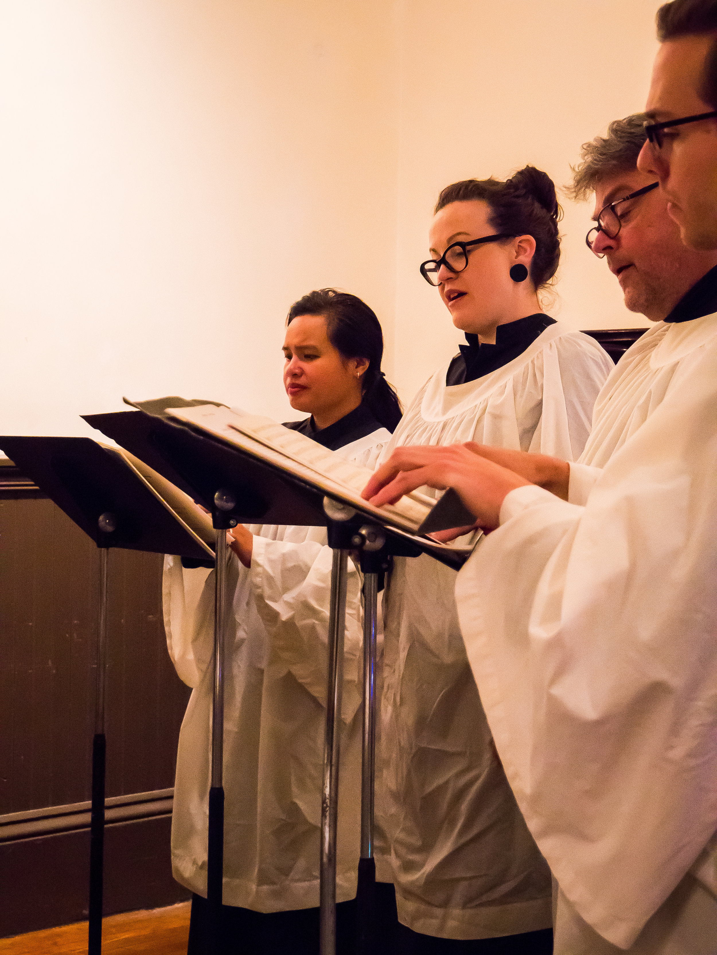 "A quartet from the parish choir sang Byrd's ""Mass for 4 voices"" on Sunday.   Photo by Ricardo Gomez"