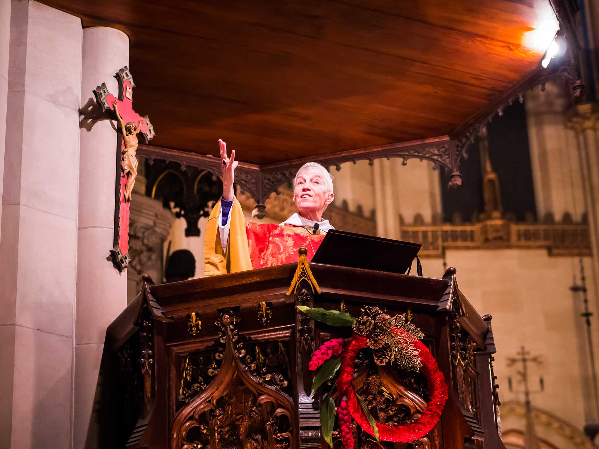 The Right Reverend Mary D. Glasspool, assistant bishop, was celebrant and preacher for the Solemn Mass on the Eve of the Epiphany.  Photo by Ricardo Gomez