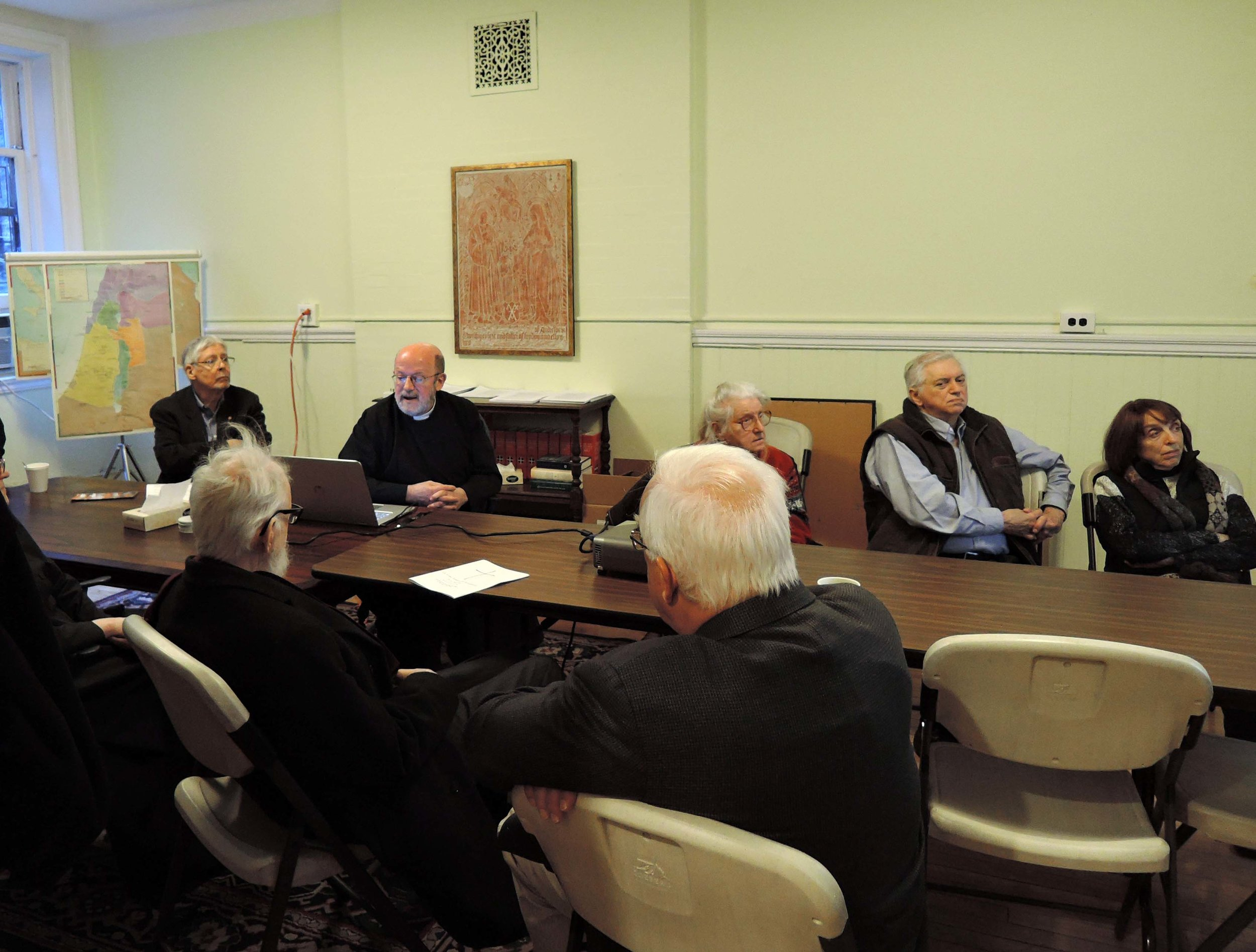 """Father Jay Smith teaching in the Adult Forum on """"The English Reformation.""""  Photo by Sr. Monica Clare, C.S.J.B."""
