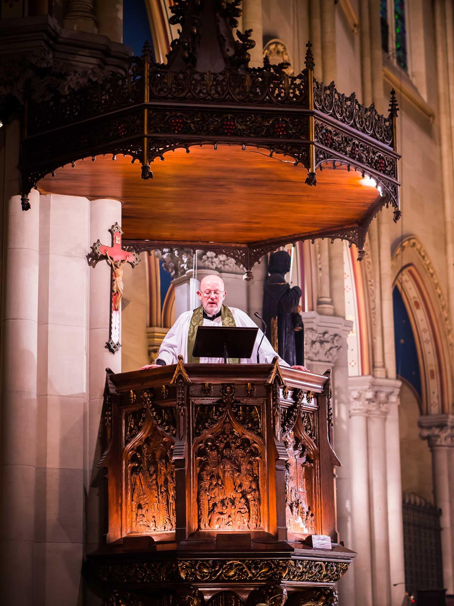 Father Smith was preacher for the Solemn Mass.    Photo by Ricardo Gomez