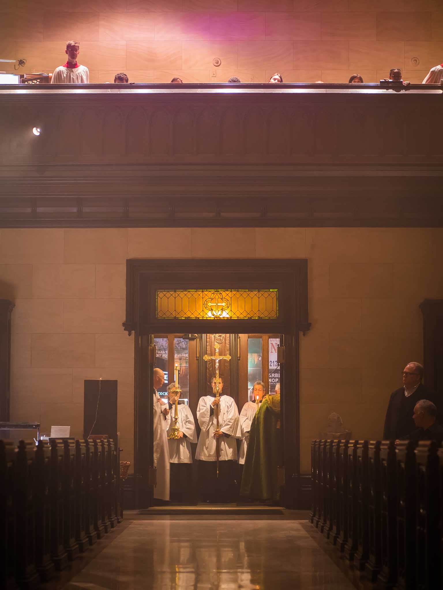 """After Evensong, the clergy and servers pause for one final prayer: Officiant, """"May the Divine assistance remain with us always."""" Response: """"And with those who are absent from us. Amen.""""   Photo by Ricardo Gomez"""