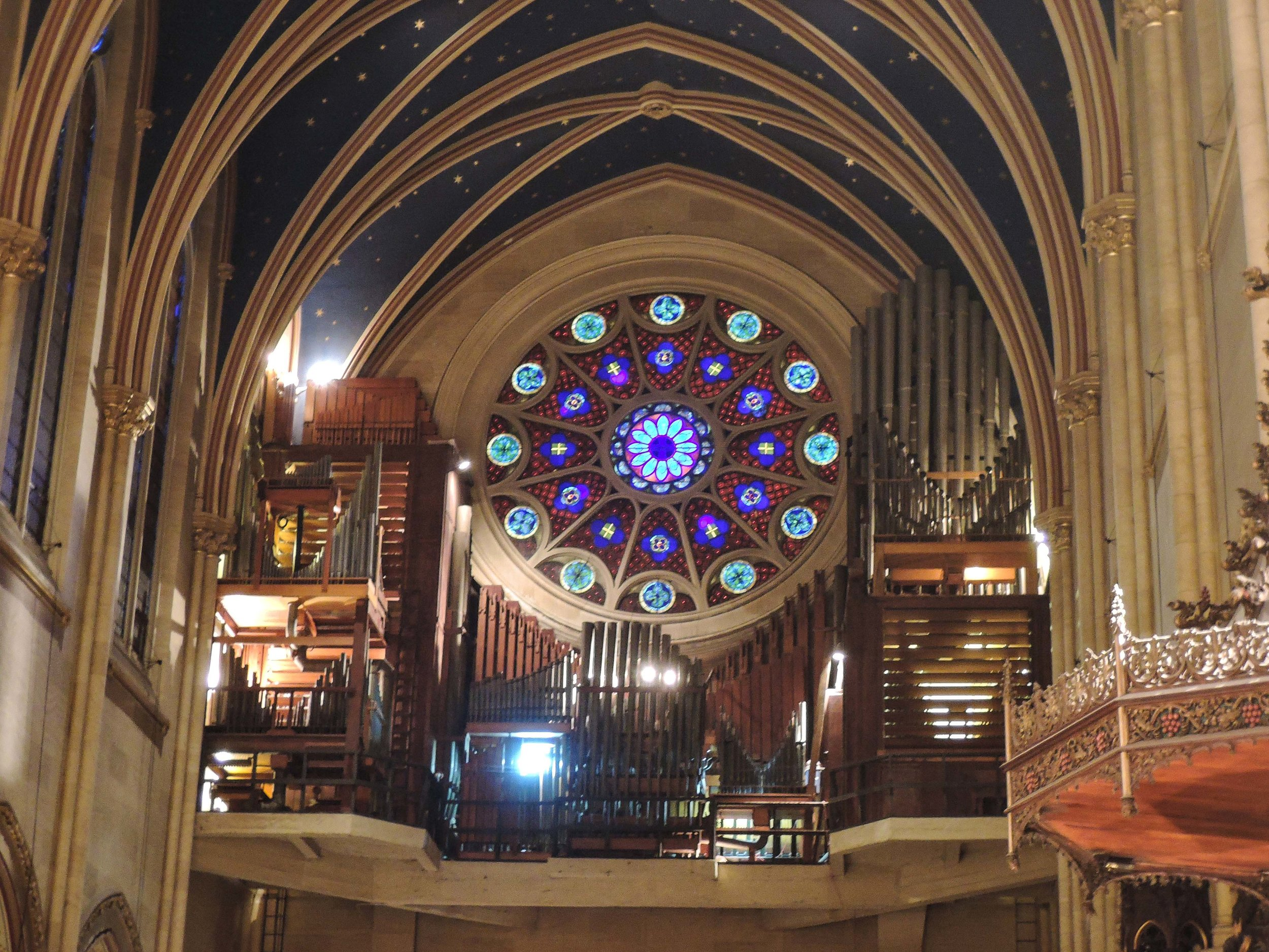 The lights were on while Larry Trupiano tuned the organ on Wednesday, January 31, before the Candlemas recital and services.  Photo by Sr. Monica Clare, C.S.J.B.