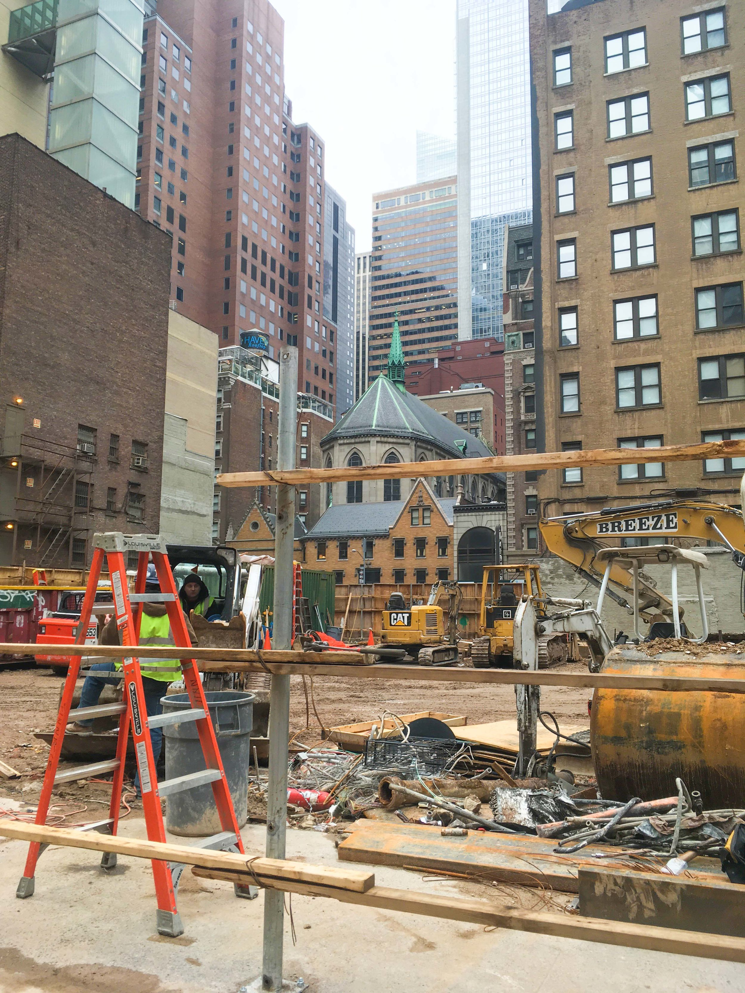 A view of Saint Mary's from West 48th Street that will disappear when construction begins on the new buildings.  Photo by Sr. Monica Clare, C.S.J.B.