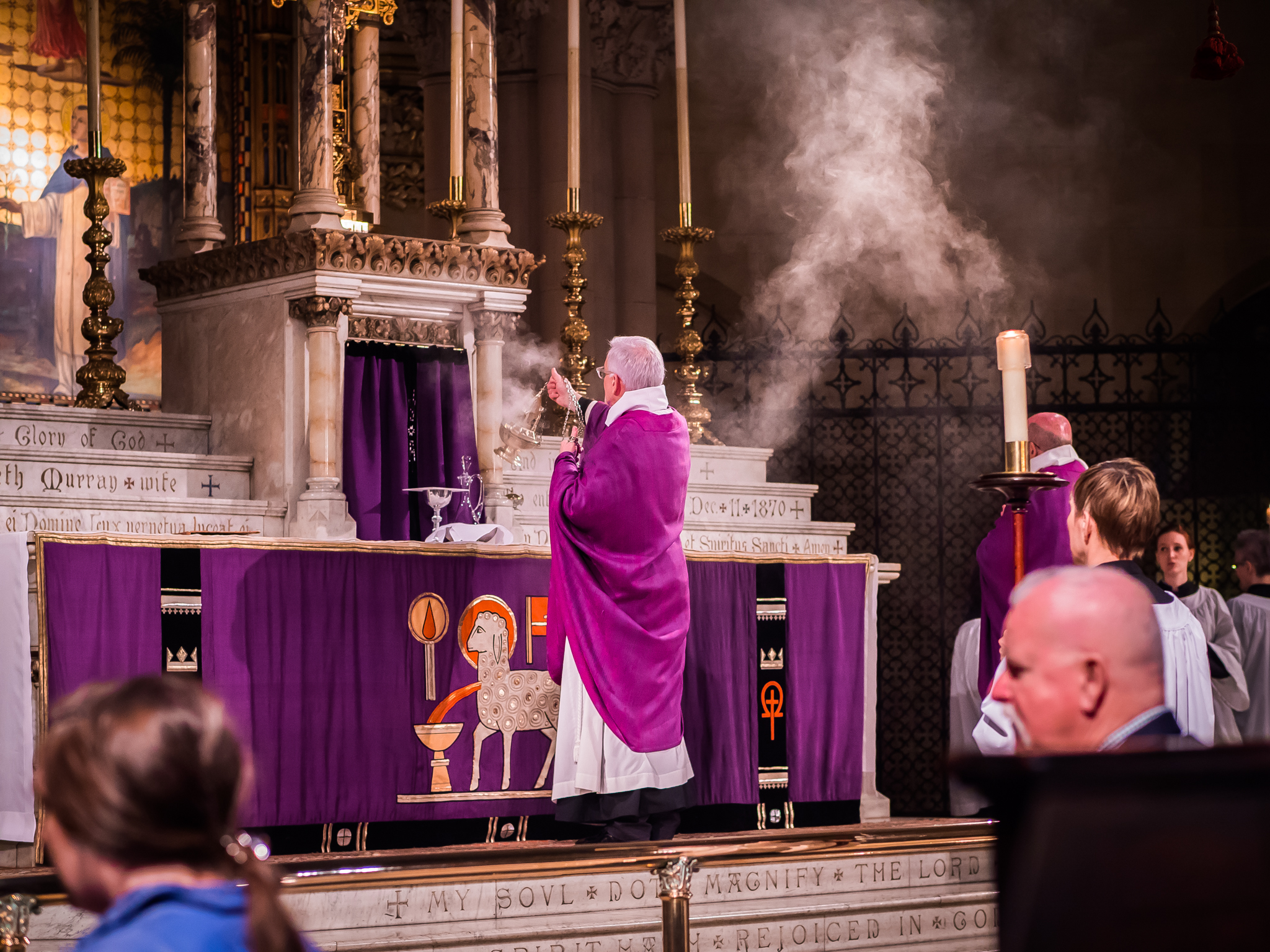 After the bread and wine are prepared, incense is offered to honor the offering and the altar.  Photo by Ricardo Gomez
