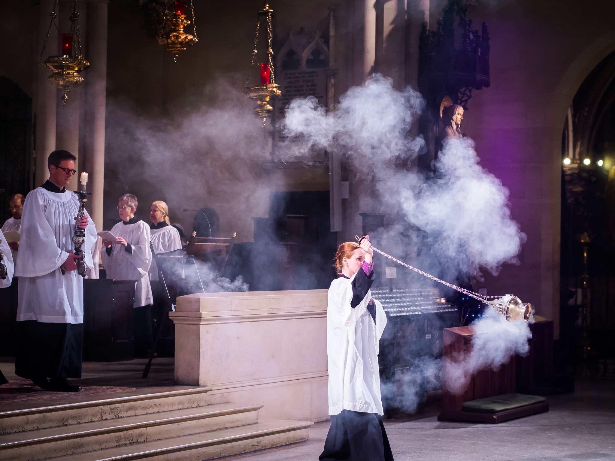 The Gospel Procession on the Third Sunday in Lent: Grace Mudd was the thurifer.  Photo by Ricardo Gomez