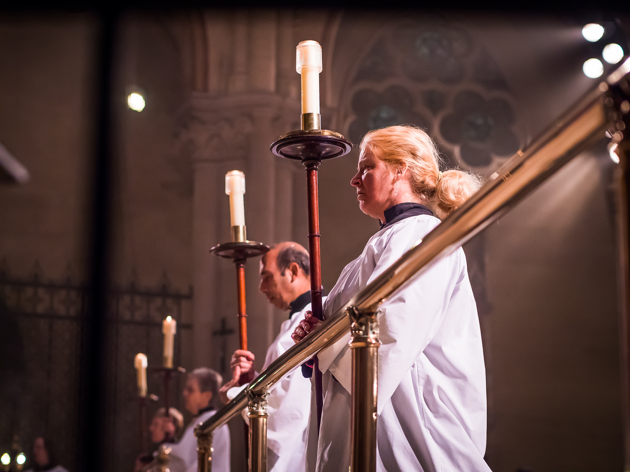 Four wooden processional torches are used during Lent.   Photo by Ricardo Gomez