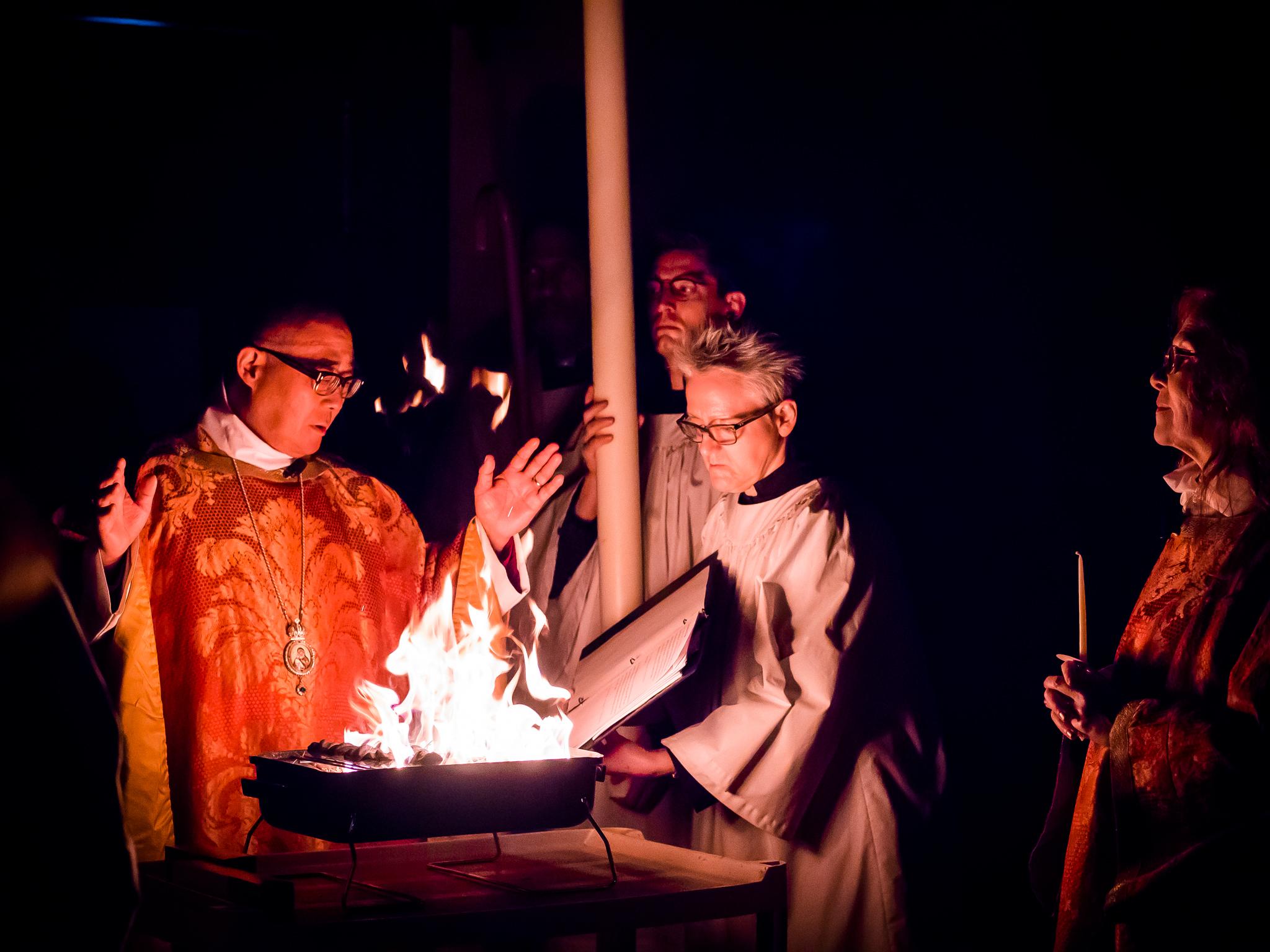 The Great Vigil of Easter begins.  Photo by Ricardo Gomez