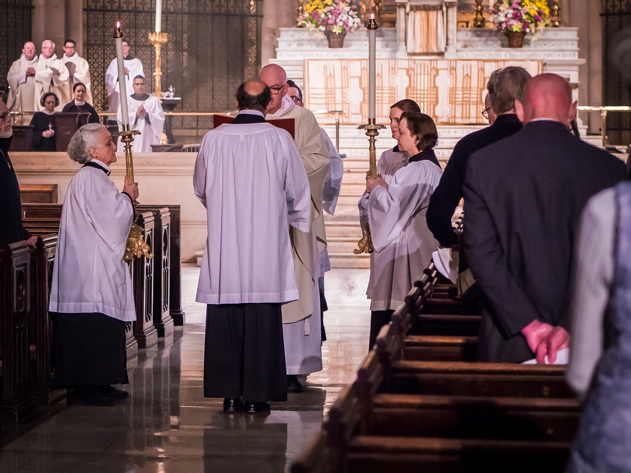 At Solemn Mass the Gospel is proclaimed from the midst of the congregation.  Photo by Ricardo Gomez