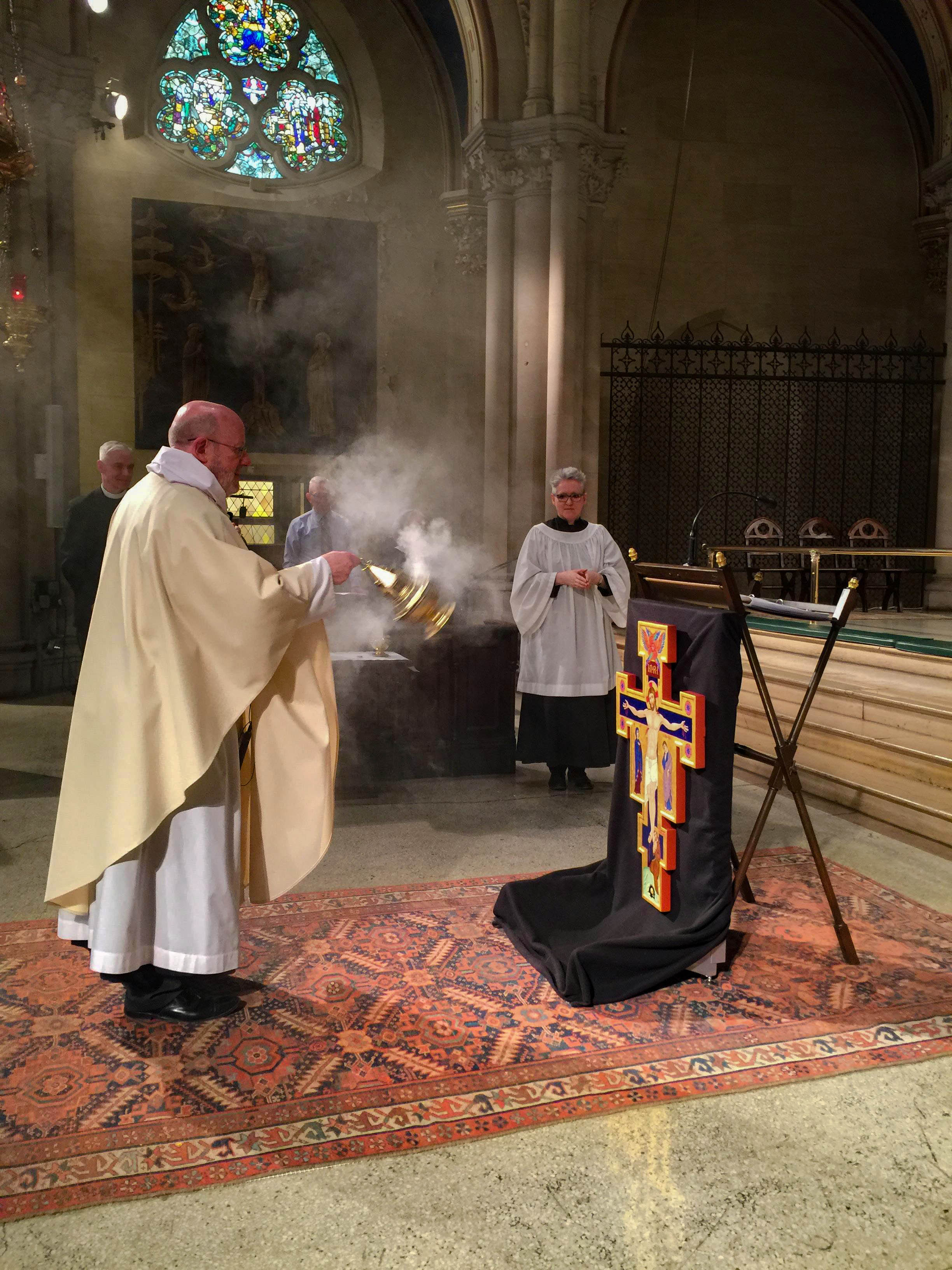 Incense is offered during the blessing of the icon commissioned for All Souls Church, Washington, D.C.