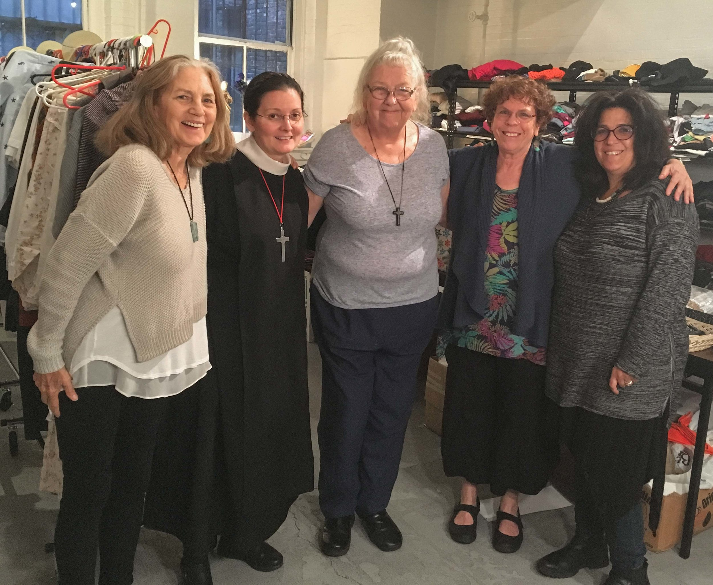 Volunteers for the Drop-in Day (L to R): Virginia Bell, Sr. Monica Clare, Deacon Lind Phillips, The Reverend Debby Schlein, and Judith Adler.   Photo by Harka Gurung