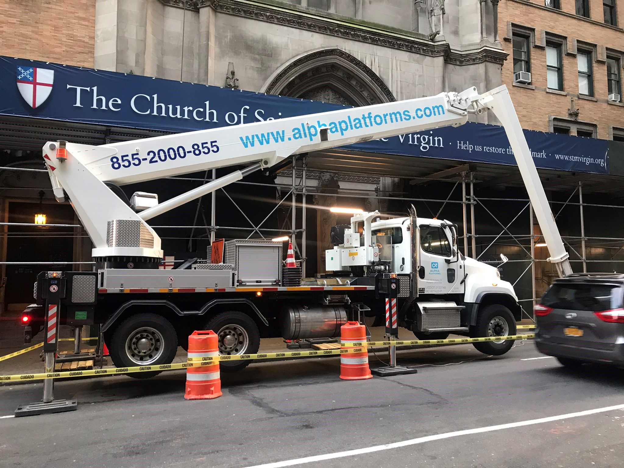 Saturday, April 28, 2018, the lift our architect and his team will use to inspect the church facade.  Photo by the Rector