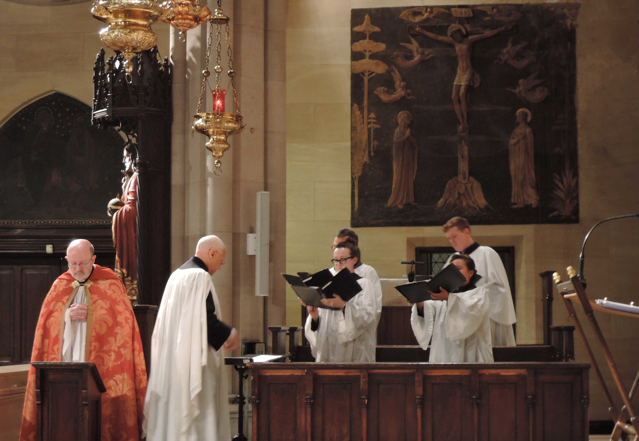 A quartet sang the canticles and a motet at Solemn Evensong on the Eve of Ascension Day.   Photo by Sr. Monica Clare, C.S.J.B.