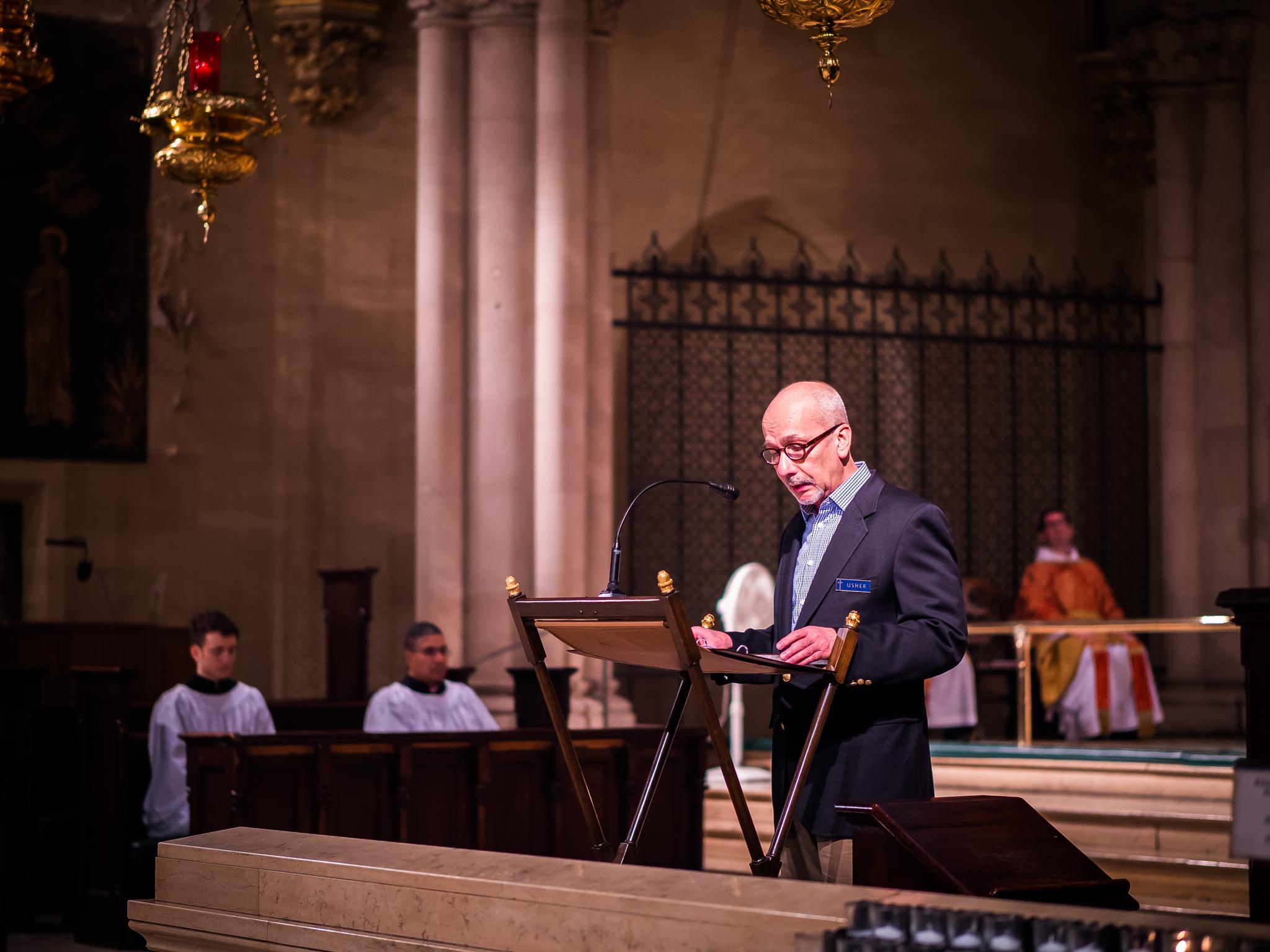 Steve Potanovic reads the lessons on Sunday.  Photo by Ricardo Gomez