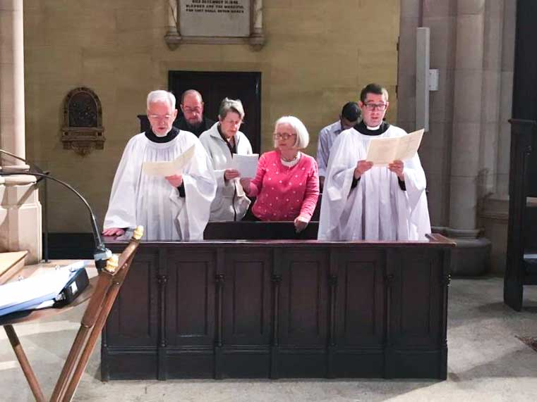 At Sung Matins on Corpus Christi. Daily Morning and Evening Prayer will be read on Sundays, instead of being sung, until the first Sunday of October.  Photo by the Rector