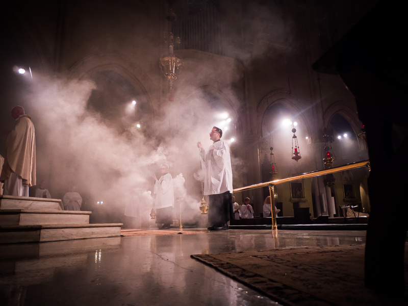 Incense is offered as  Te Deum laudamus  is sung on Trinity Sunday.  Photo by Ricardo Gomez