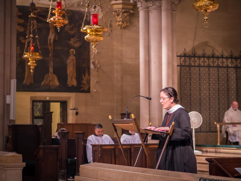 Sr. Monica Claire, C.S.J.B., sang the epistle.   Photo by Ricardo Gomez