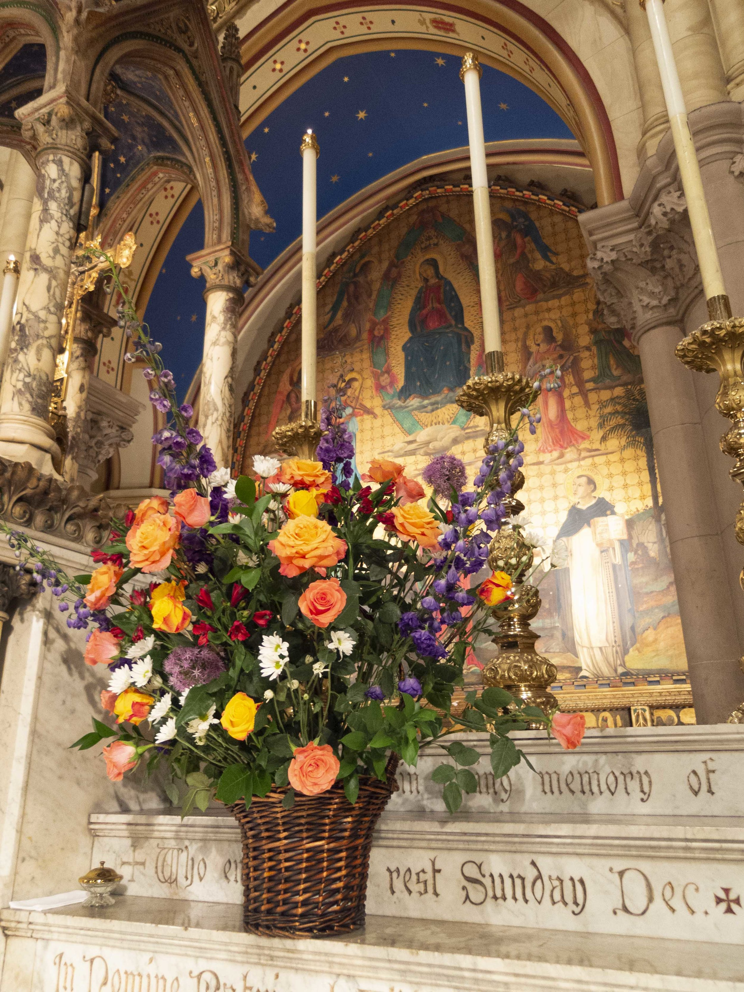 """The summer flowers on the altar on Sunday included """"Free Spirit"""" roses. Design by J. Grace Mudd  Photo by Sister Monica Clare, CSJB"""
