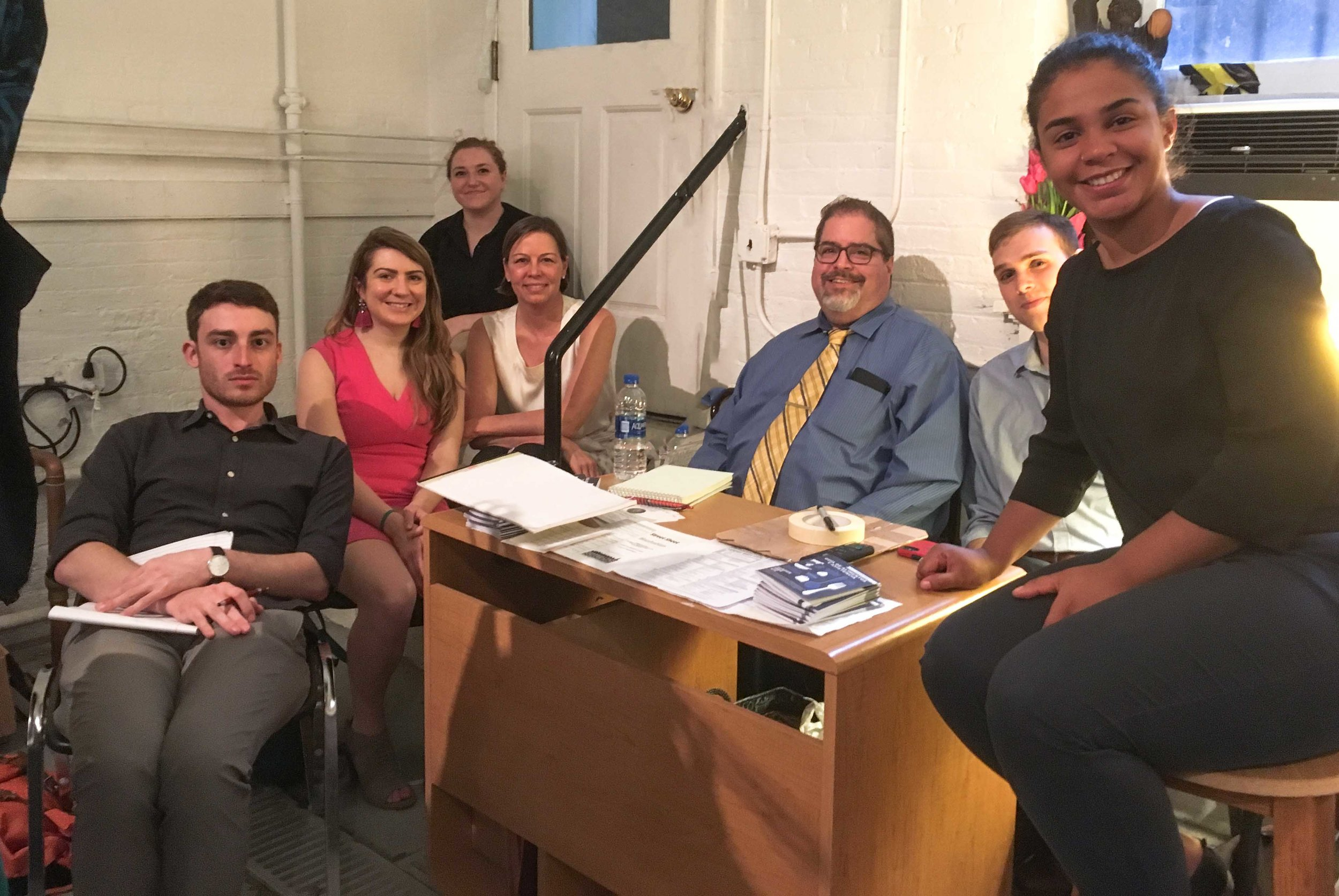 Christopher Portelli (center) with law student volunteers from the New York Legal Assistance Group at the Drop-In Day on Wednesday, June 27, 2018.    Photo by Sr. Monica Clare, C.S.J.B.