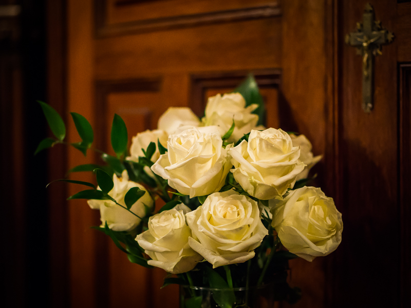 Flowers at the Vault in the Lady Chapel, where the ashes of the departed are reposed.    Photo by Ricardo Gomez