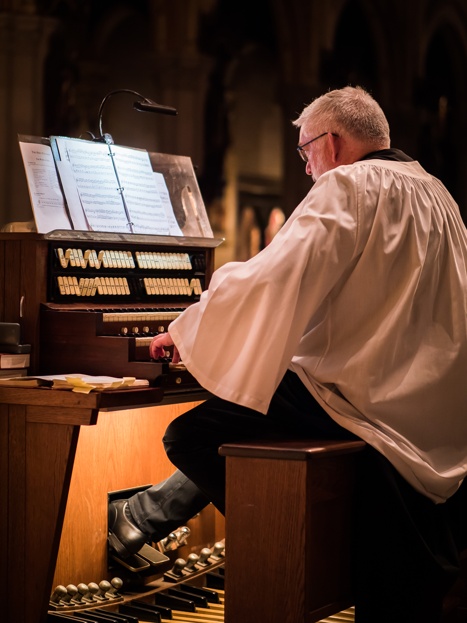 Parishioner Clark Anderson played for the Solemn Mass on August 5, while David Hurd attended the Organ Historical Society Conference in Rochester, New York.   Photo by Ricardo Gomez