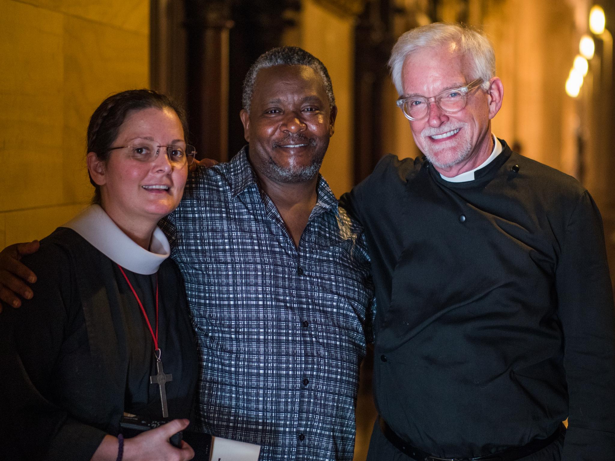 Sr. Monica Clare, C.S.J.B., Francis Mutumba, and Fr. Jim Pace  Photo by Ricardo Gomez