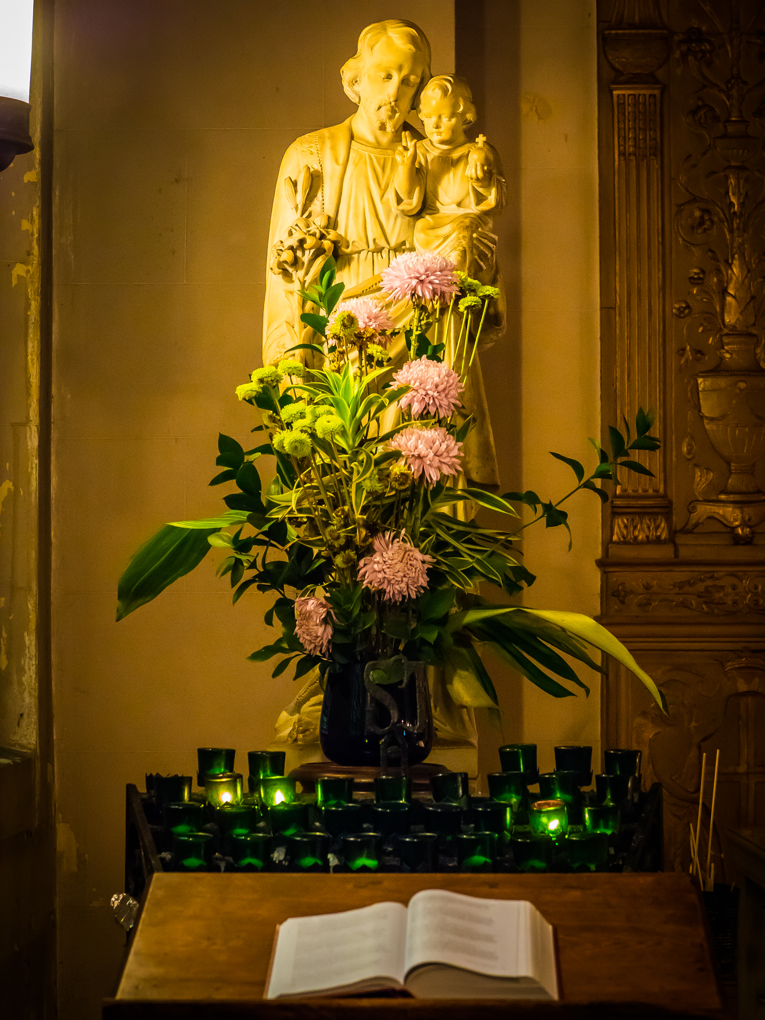 The statue of Saint Joseph holding the Christ Child originally was placed in the Lady Chapel.  Photo by Ricardo Gomez