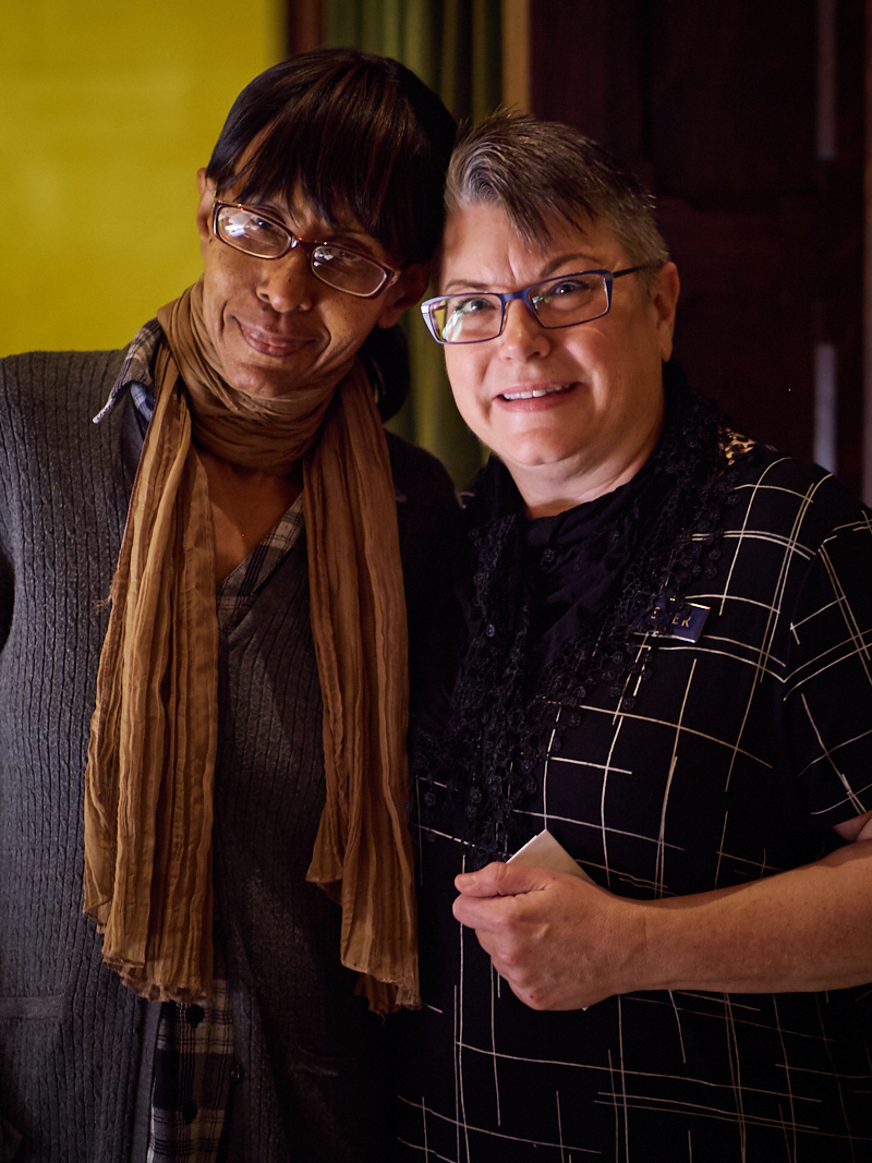 A job well done: ushers Sharon Stewart (L) and Mary Robison after Mass on Sunday  Photo by Ricardo Gomez