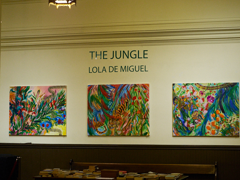 """A new art exhibit opened in the Gallery this week: """"The Jungle,"""" work by Lola de Miguel  Photo by Ricardo Gomez"""