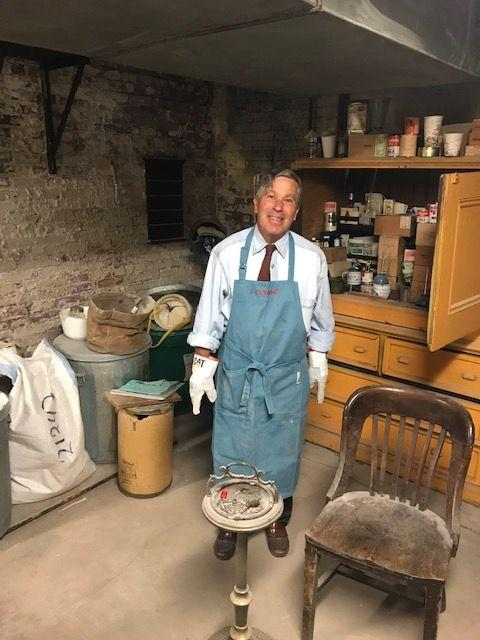Kenny Isler at work in the basement incense room.   Photo by S. Gerth