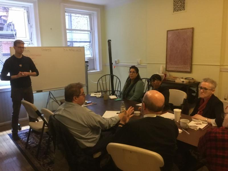Brother Thomas, SSF, leads a Homeless Ministry Planning Meeting (clockwise from left: Br. Thomas, Judith Adler, Sharon Stewart, Marie Rosseels, Fr. Jay Smith, Chris Portelli, Esq.)   Photo: Br. Damien Joseph, SSF