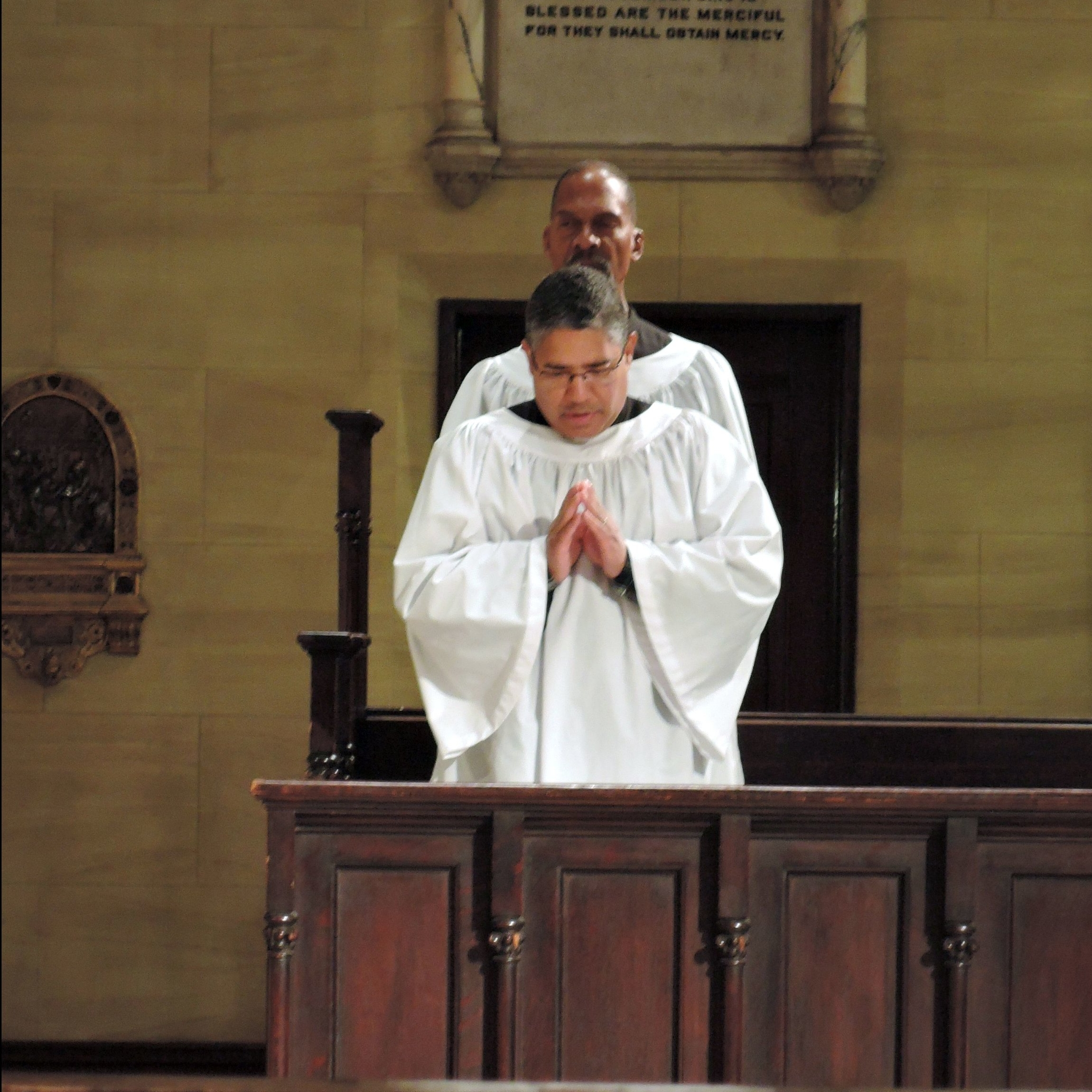 Acolytes Luis Reyes (front) and Charles Carson at Solemn Mass on Sunday, October 21  Photo: Brother Damien Joseph, SSF
