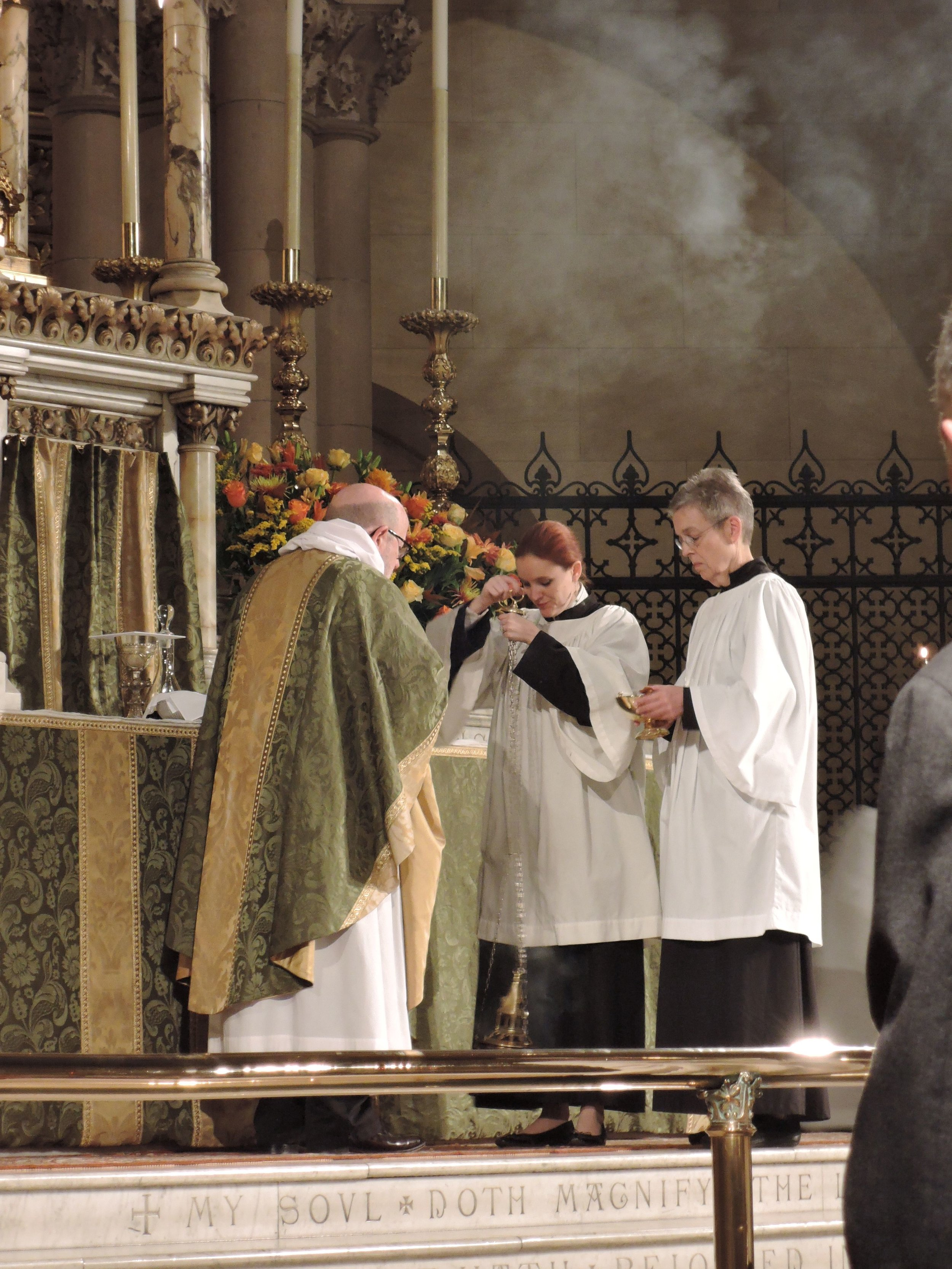 """Incense is prepared: The green of """"ordinary time"""" in view  Photo: Brother Damien Joseph, SSF"""